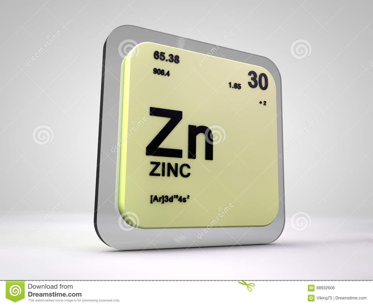 Zinc Zn Chemical Element Periodic Table Stock Illustration