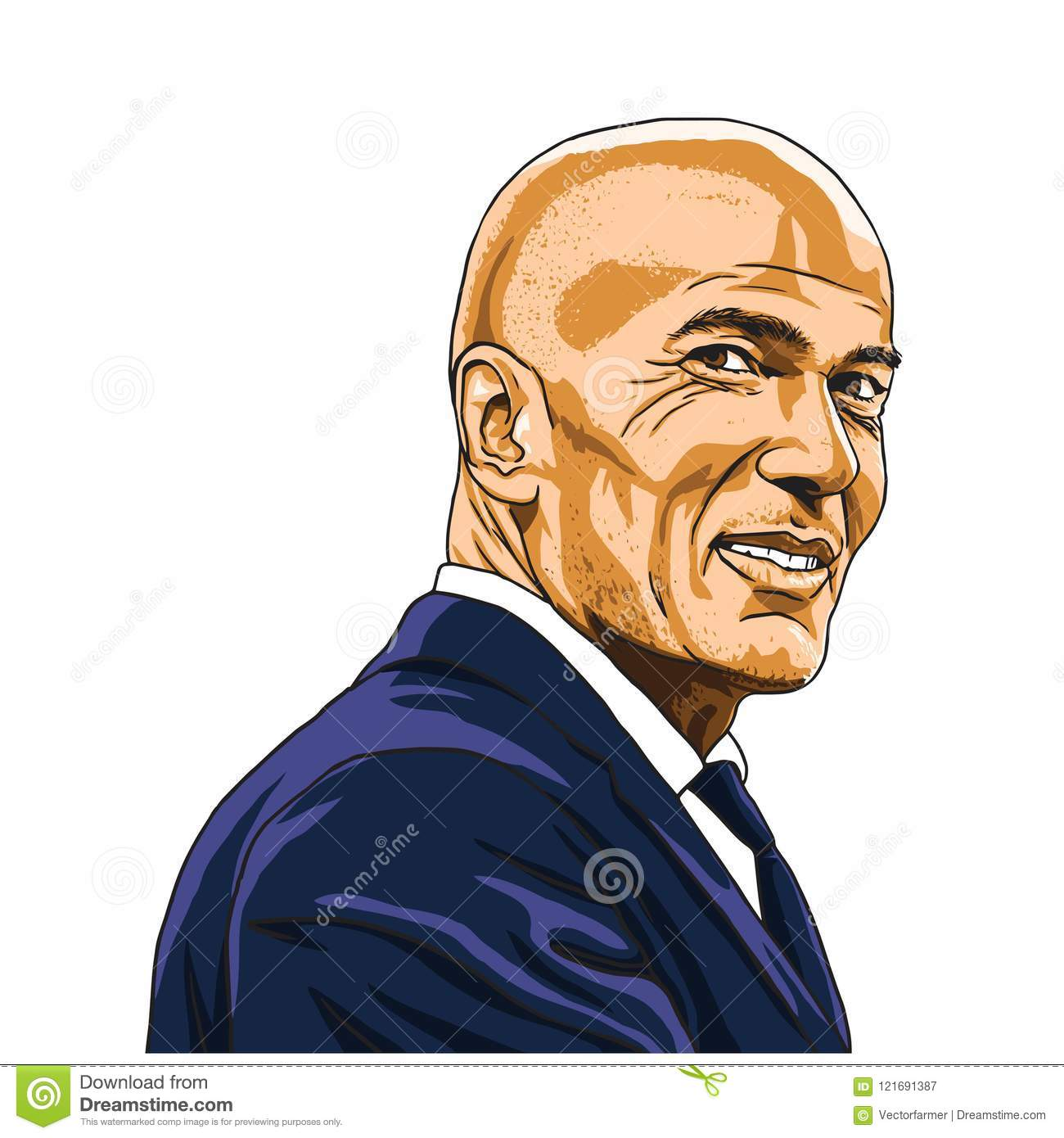 Zinedine Zidane Zizou Vector Illustration Portrait Madrid, el 20 de julio de 2018