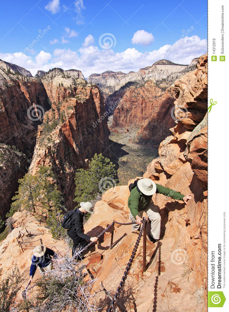 Zion Angels Landing Chain Gang Stock Image