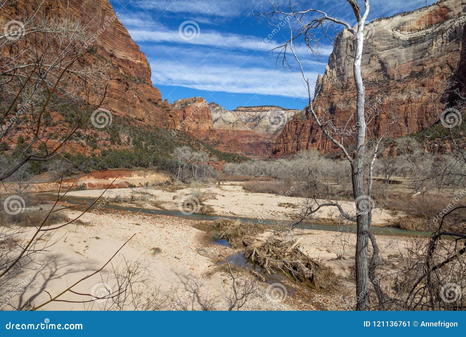 Zion Canyon, Utah na een de winteronweer
