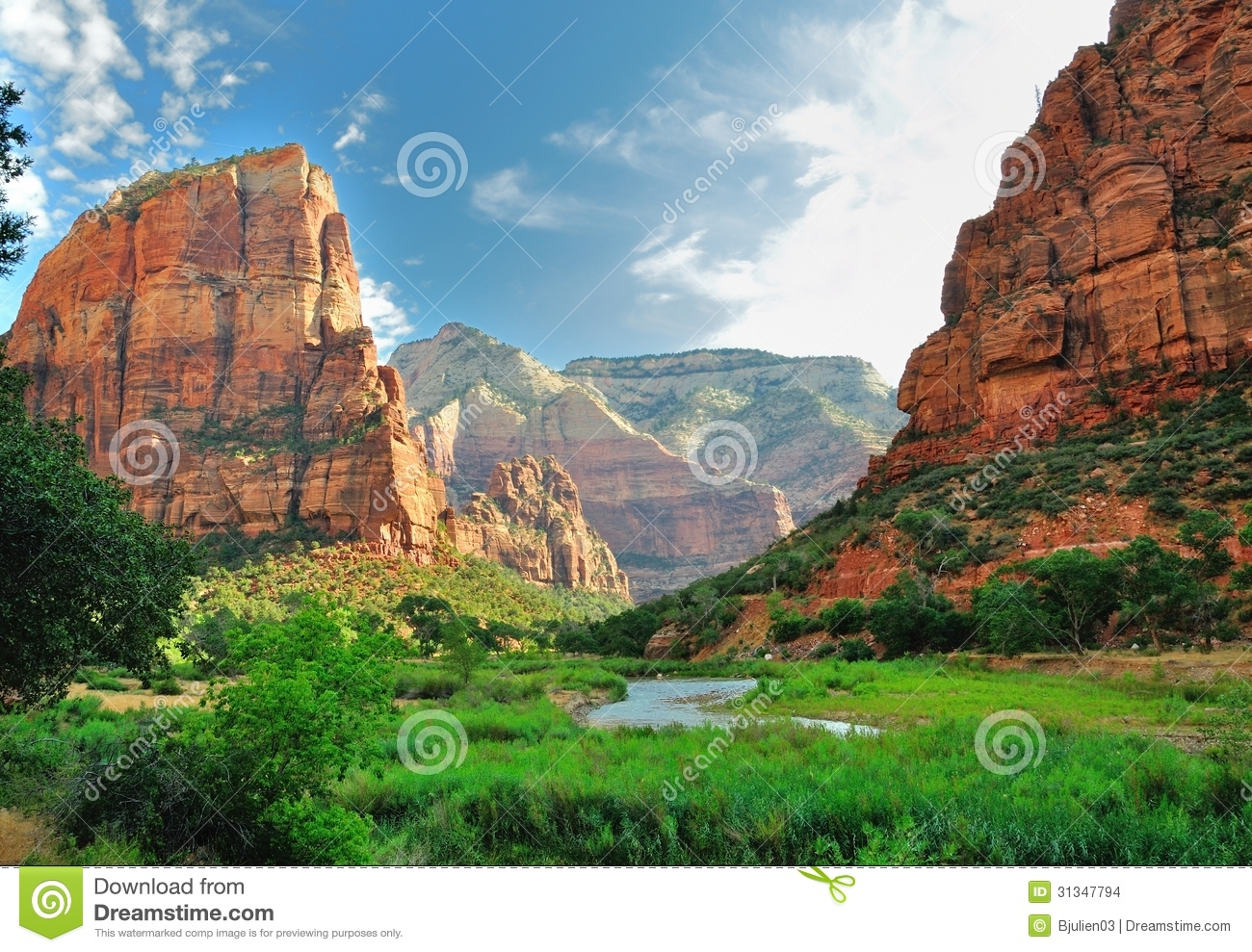 Zion Canyon, with the virgin river