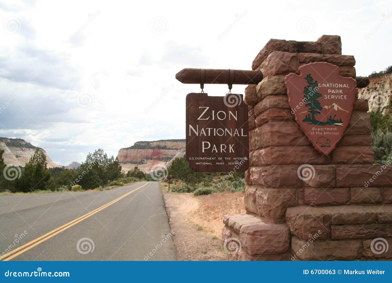 Zion de signe de stationnement national