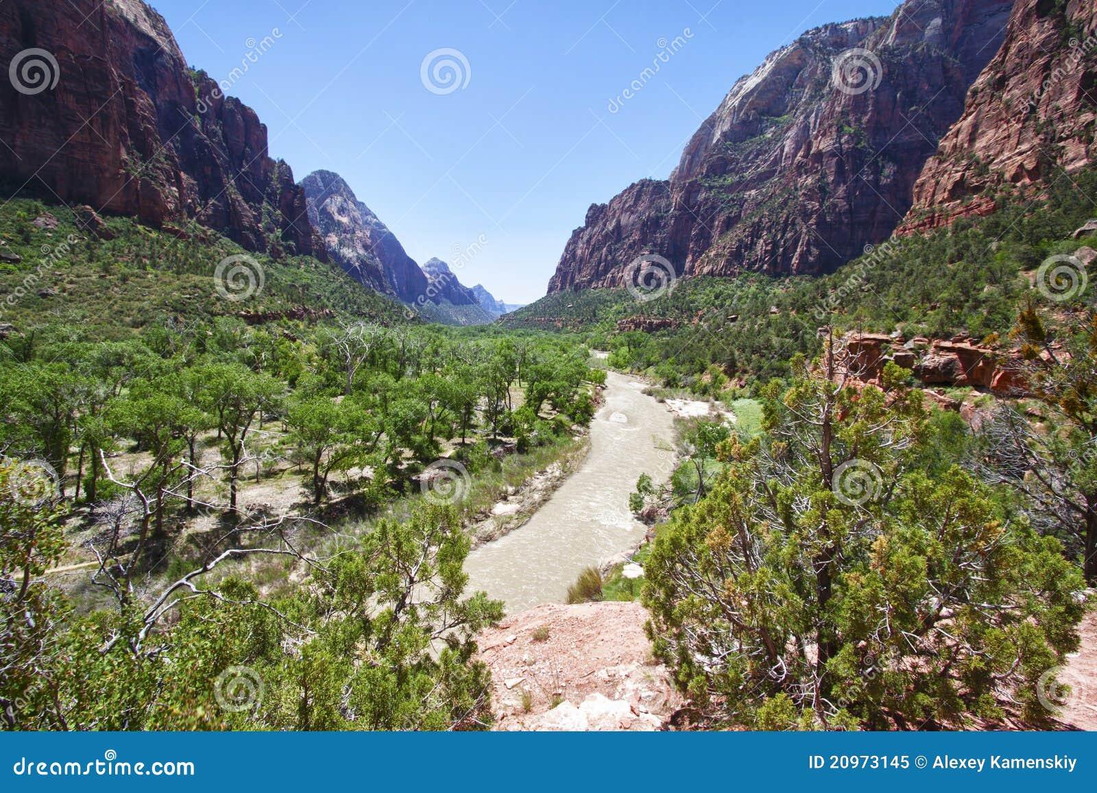 Zion för kanjonnationalparkutah dal