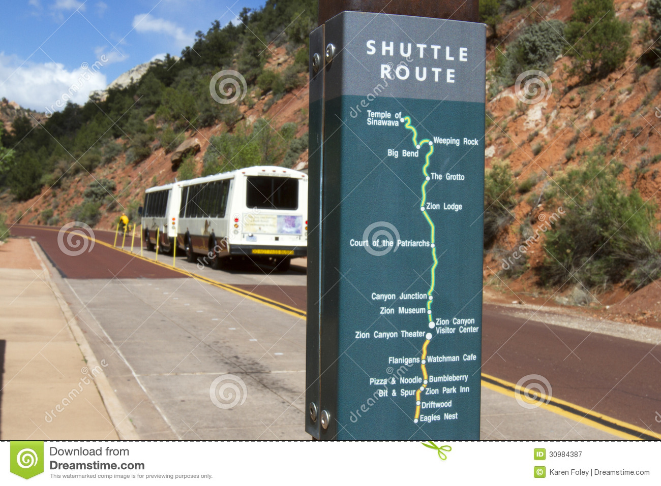 zion national park shuttle bus editorial photography - image of zion