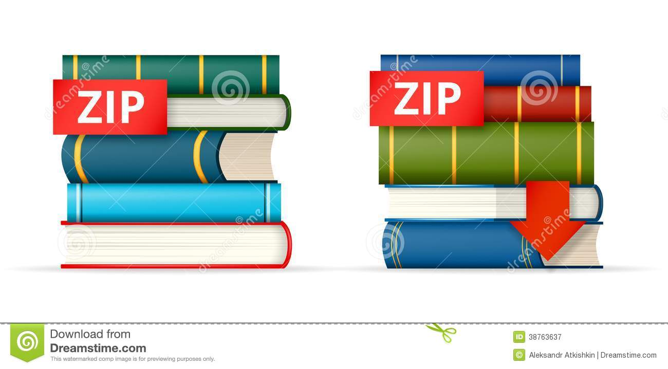ZIP books stacks icons stock vector  Illustration of file
