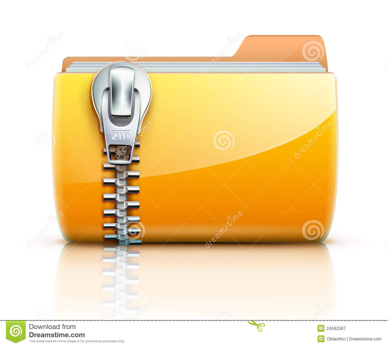 Zip Folder Icon Stock Vector Image Of Communication
