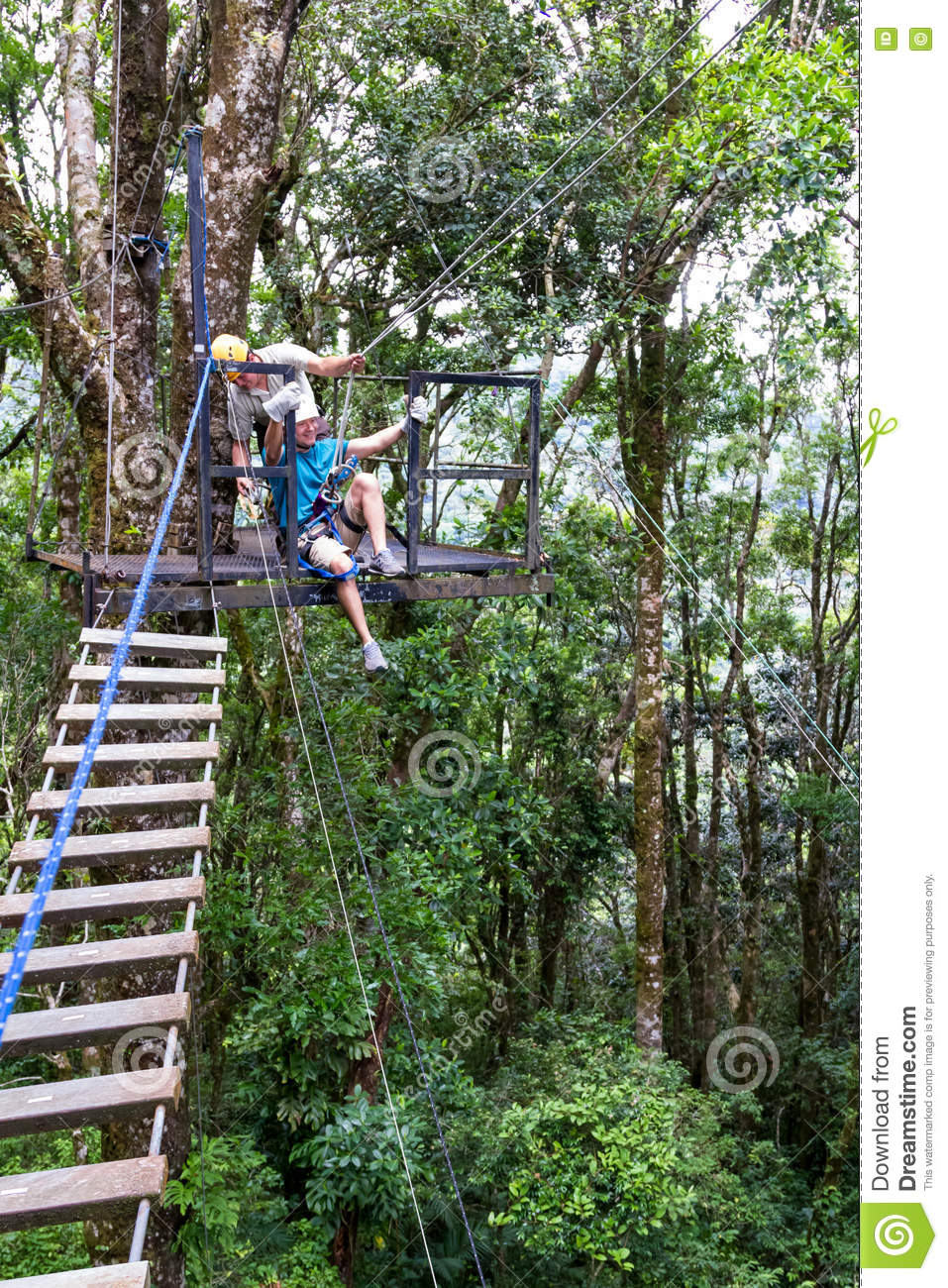 Zip Line Canopy Tours In Costa Rica Editorial Photo - Image