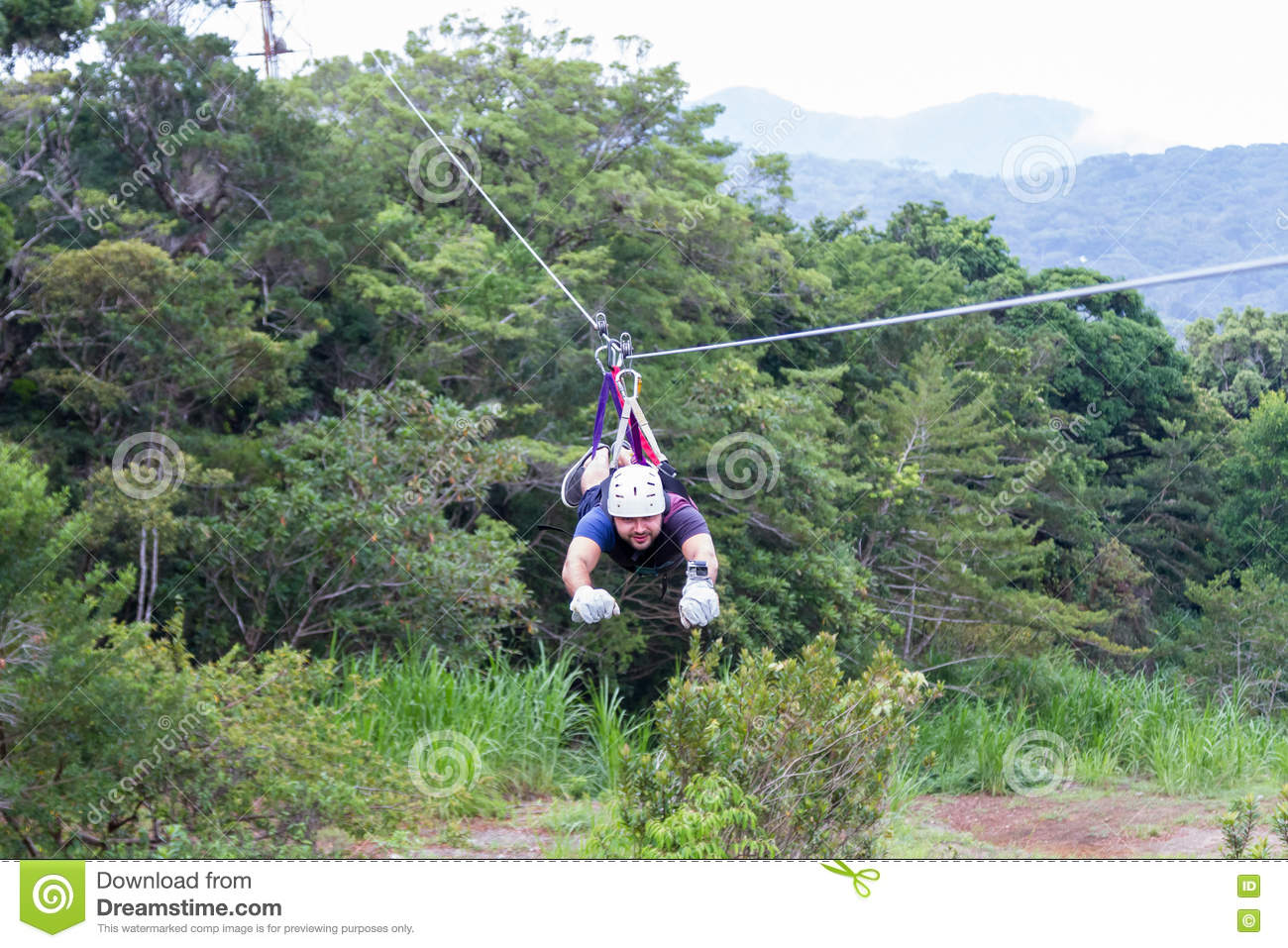 Zip Line Canopy Tours In Costa Rica Editorial Stock Image