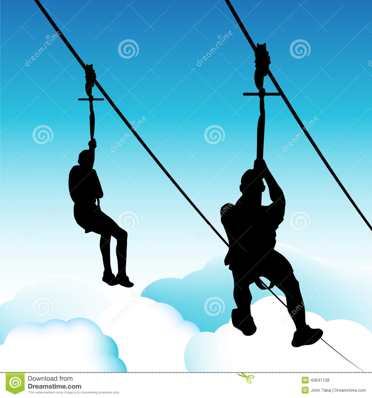 Zip Line Clipart : Zip line men stock vector image