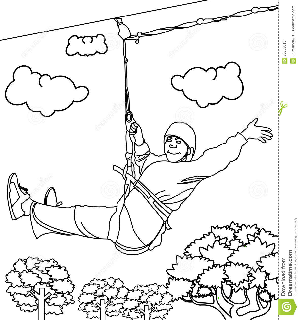 Line Art Zip : Zipline coloring page stock illustration image
