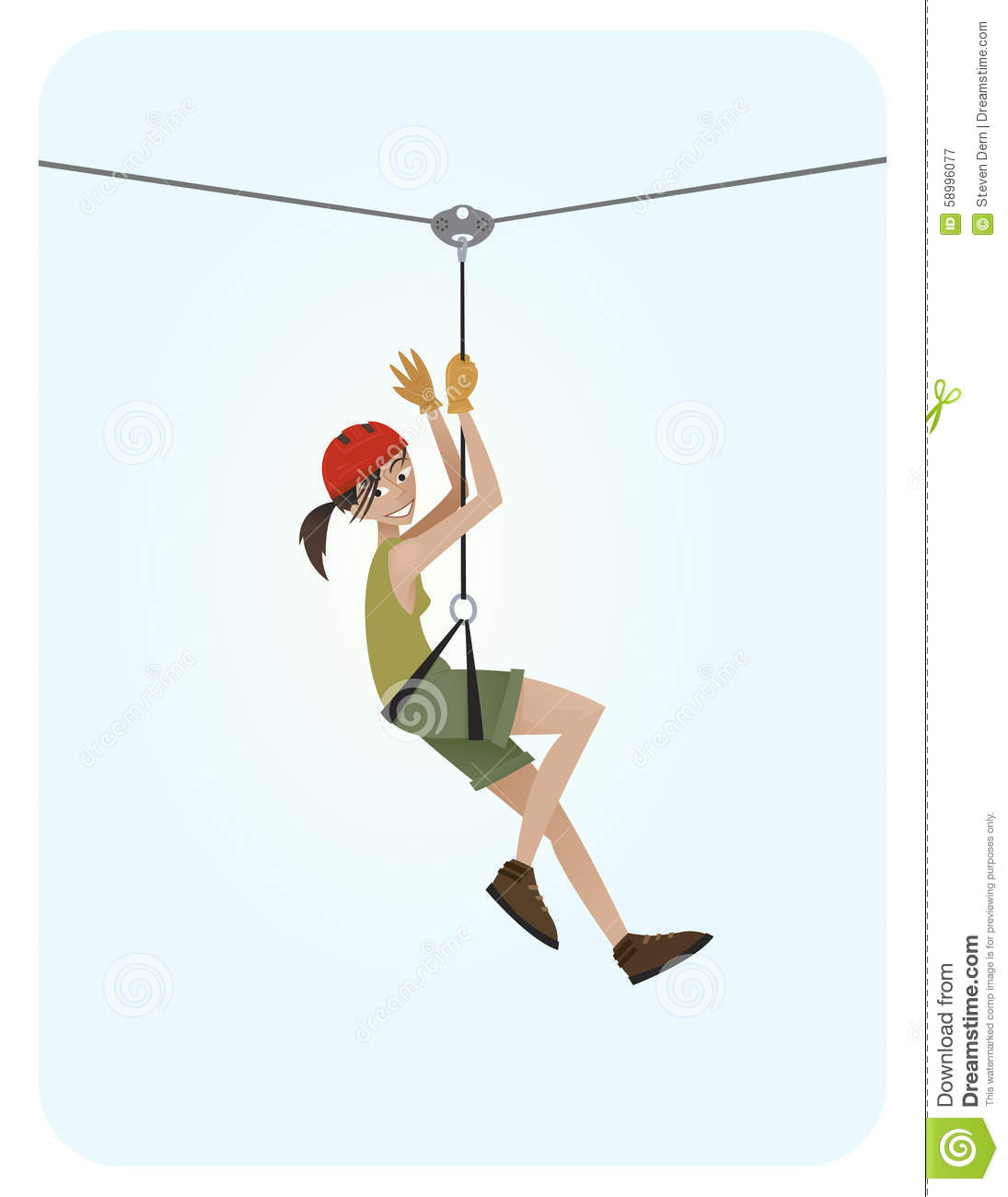 Zipline Girl Stock Vector - Image: 58996077
