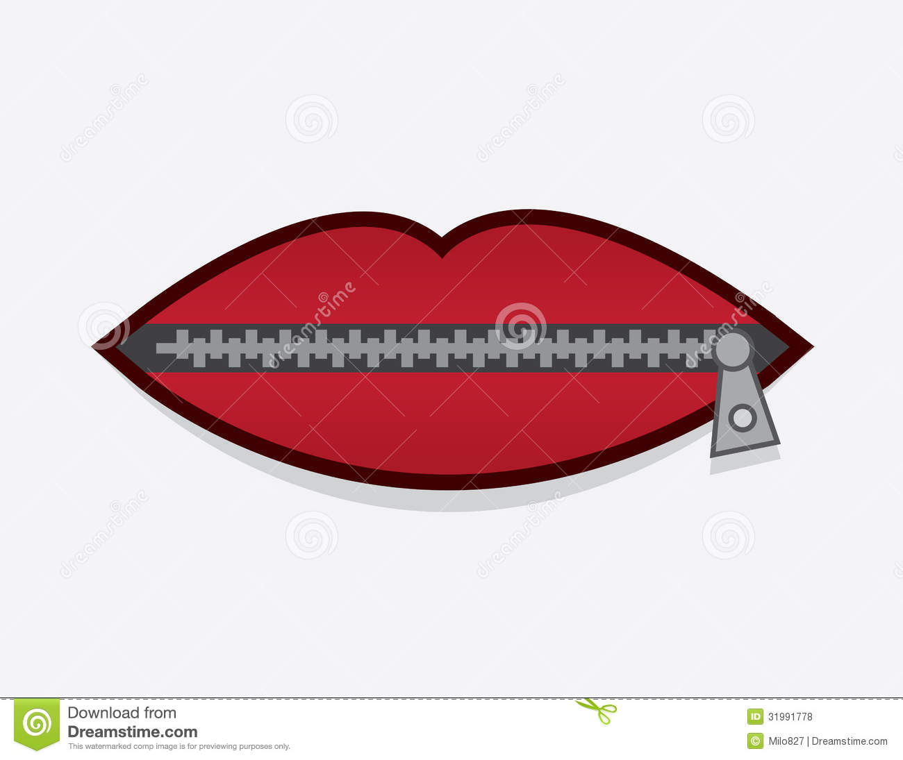 Zipper Lips stock vector. Illustration of illustration ...