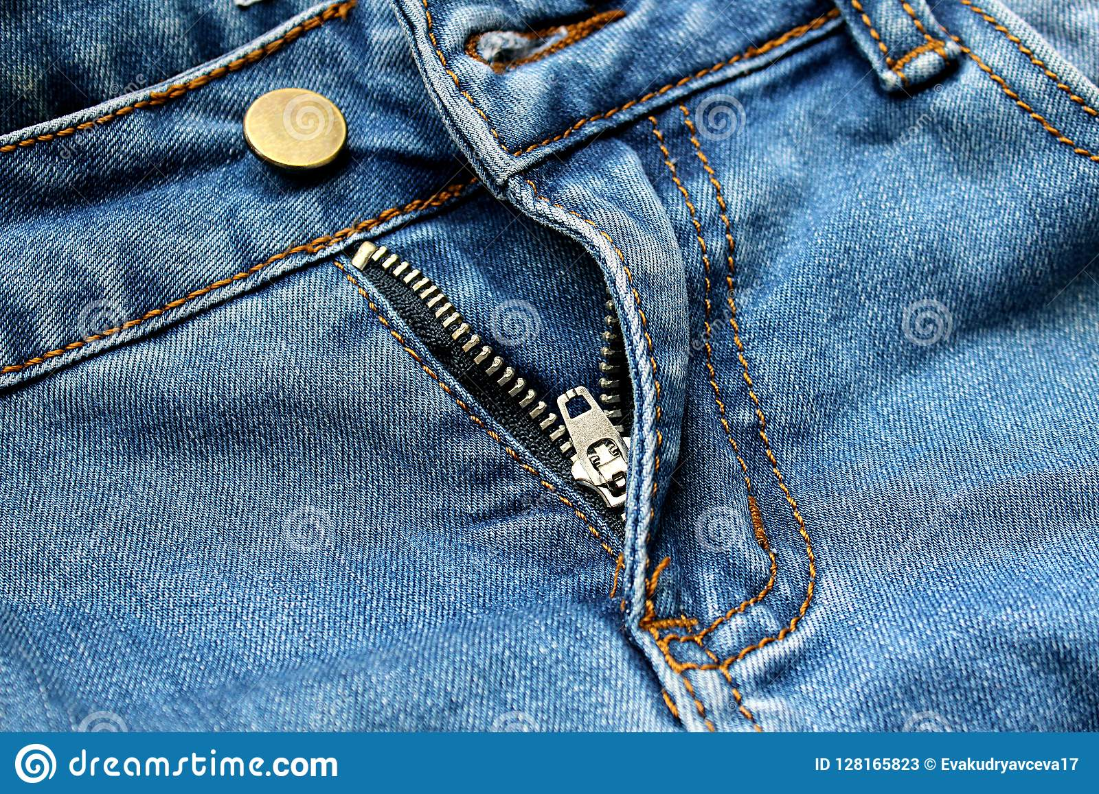 Zipper Pants Jeans Stock Image Image Of Cloth Fasten 128165823