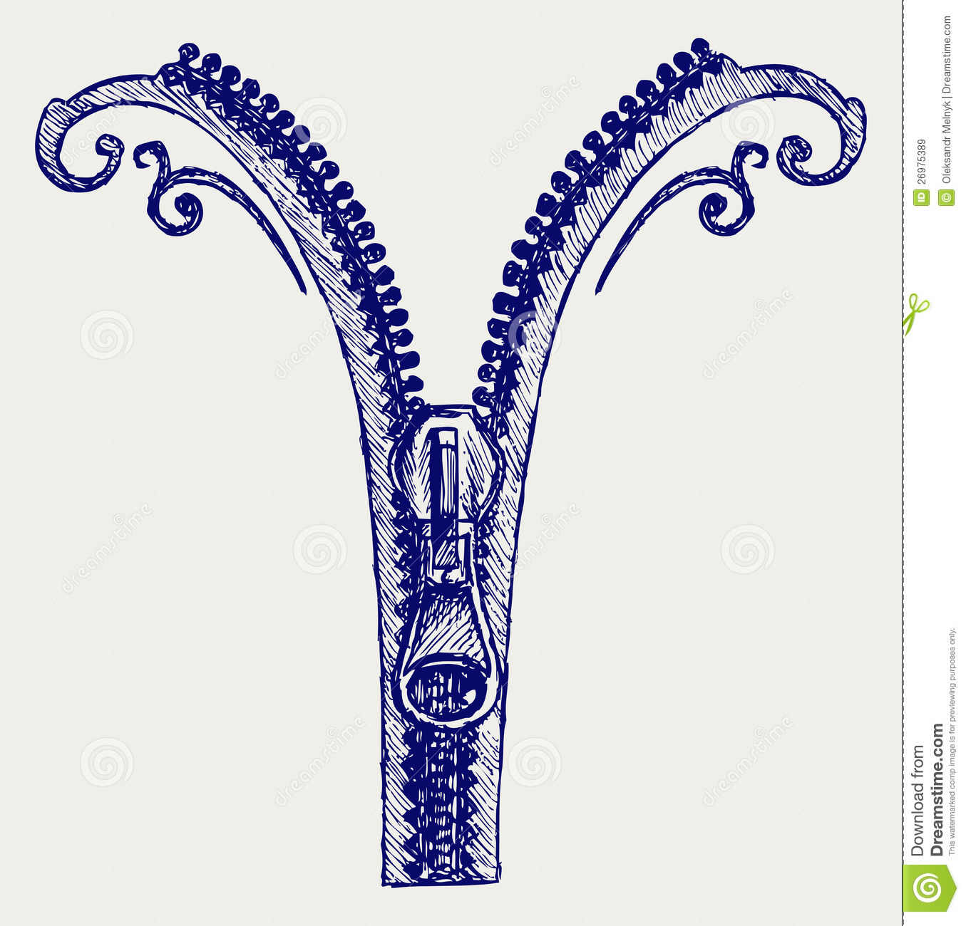 Tattoo Designs Of Zips: Zipper Sketch Royalty Free Stock Images