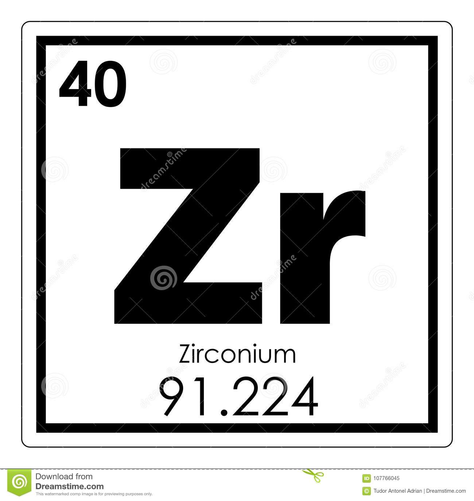 Zirconium Chemical Element Stock Illustration Illustration Of