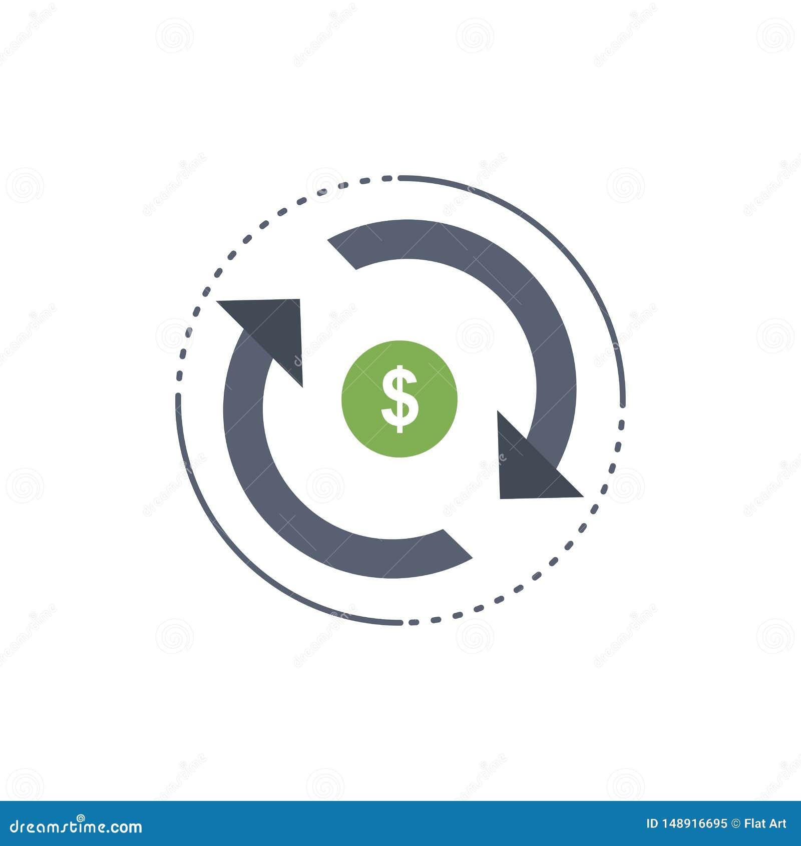 Zirkulation, Finanzierung, Fluss, Markt, Geld flacher Farbikonen-Vektor