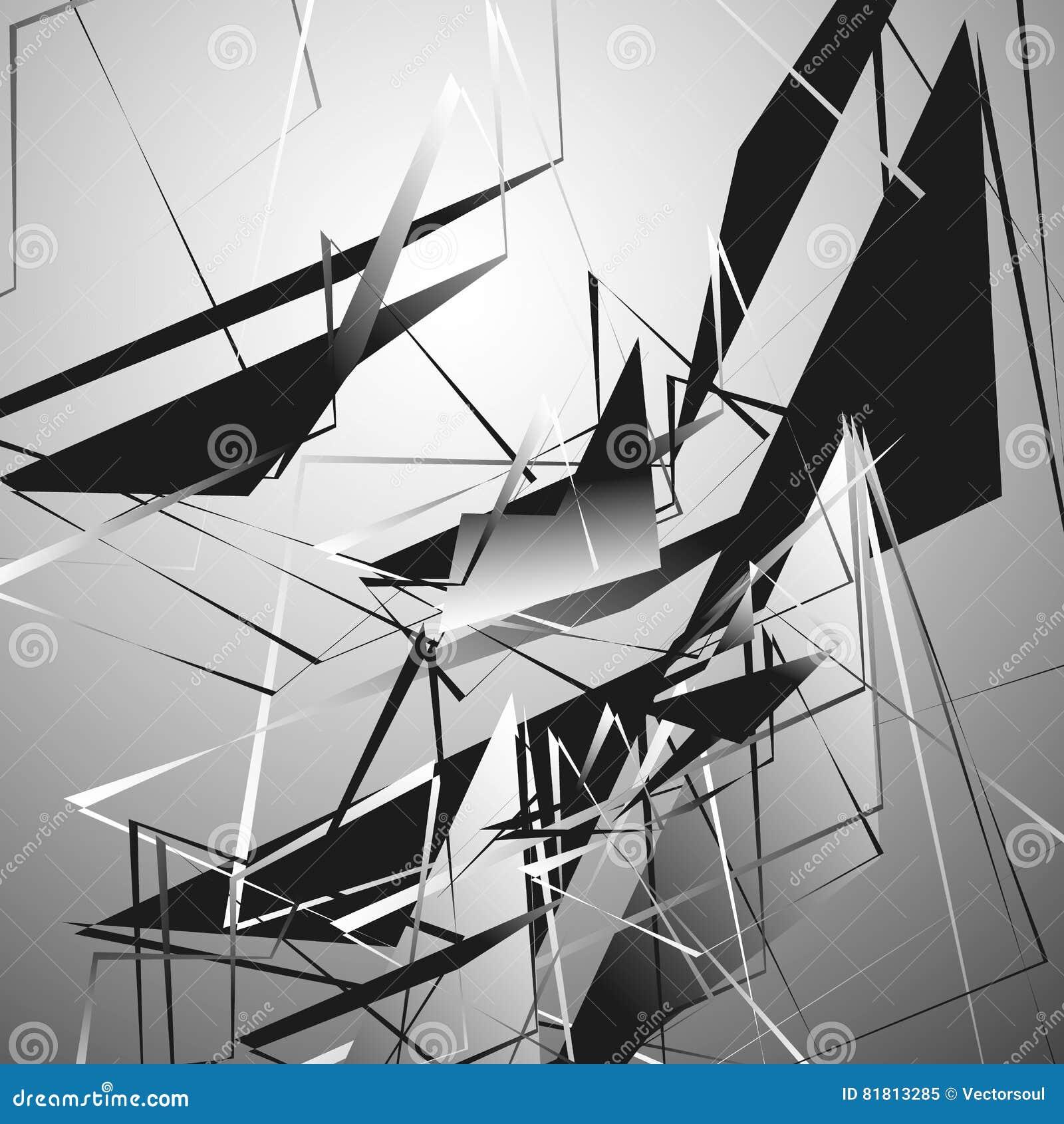Zirytowana monochromatyczna ilustracja z geometrycznymi kształtami Abstrakcjonistyczny geo