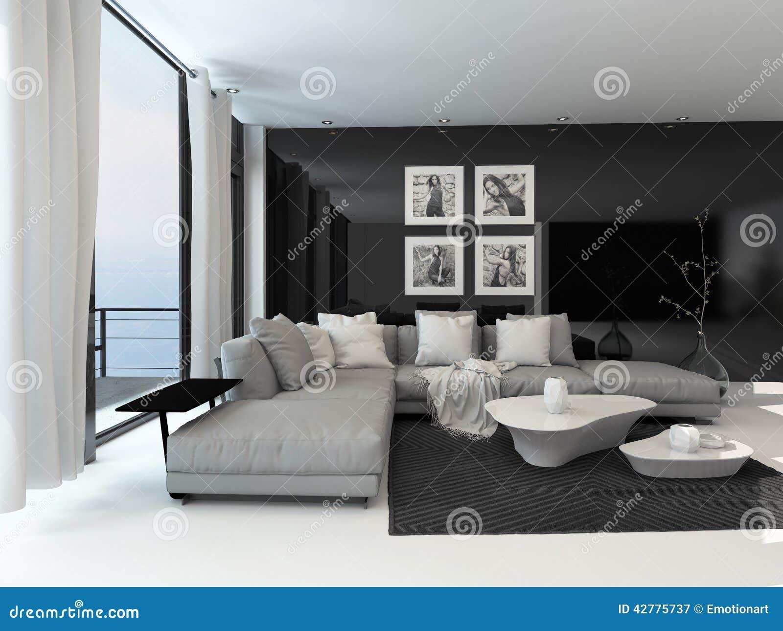Zitkamerbinnenland met een donkere accentmuur stock illustratie afbeelding 42775737 - Deco zwarte living ...