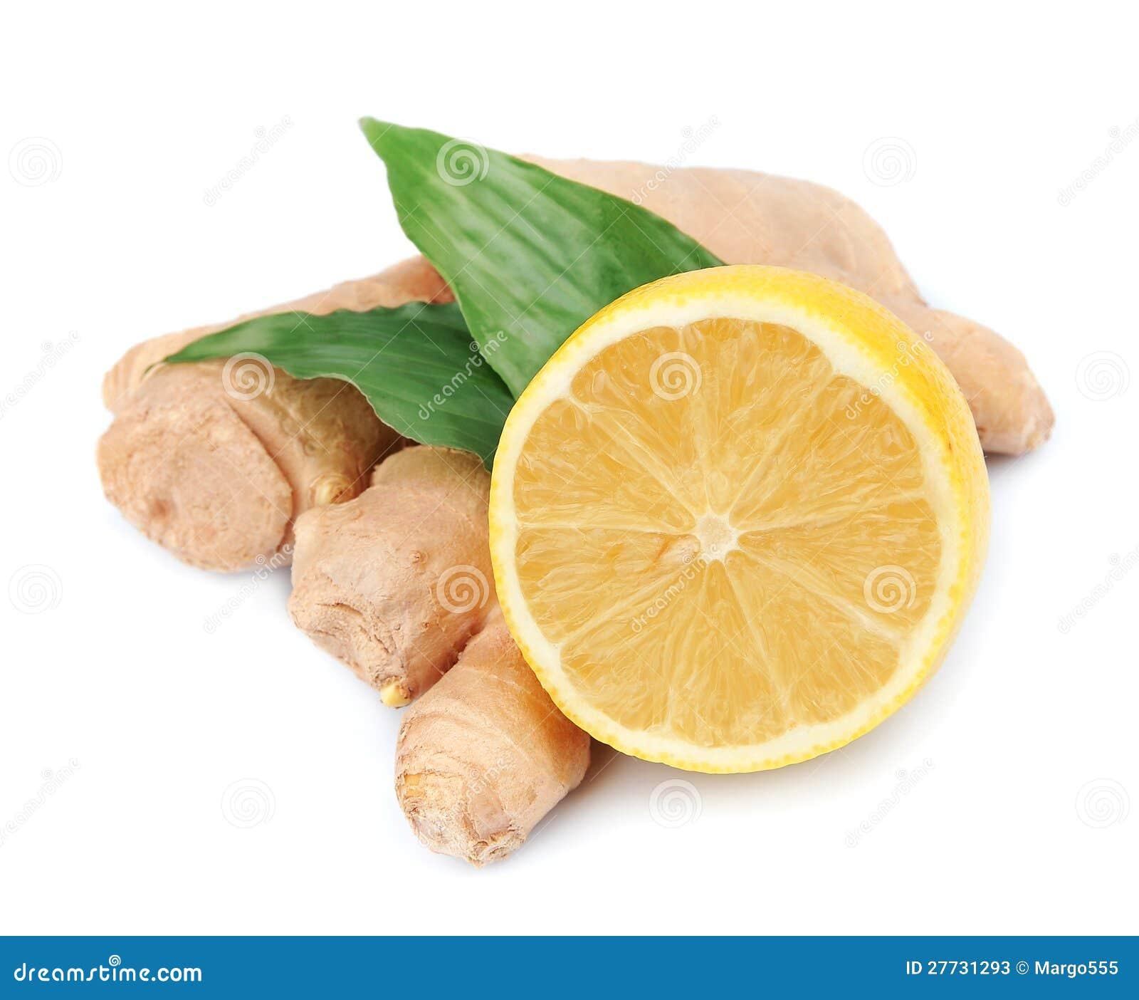 Zitronen und Ingwerwurzel