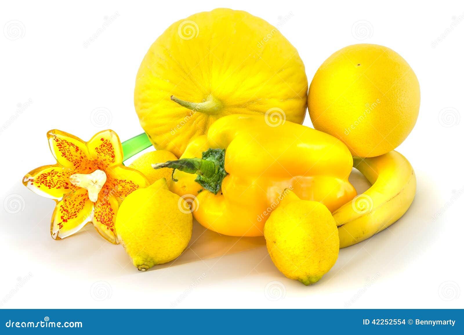 Zitrusfrucht, Obst Und Gemüse Färben Sich Mit Schatten Gelb ...