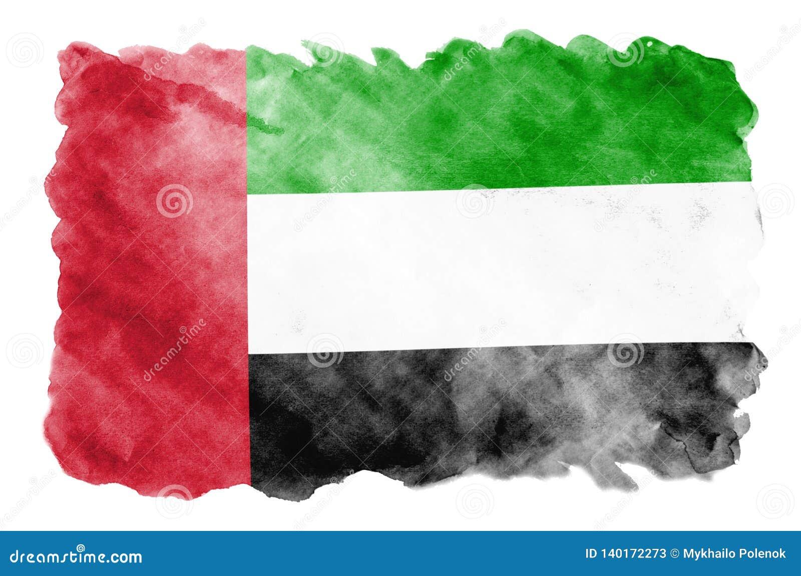 Zjednoczone Emiraty Arabskie flaga przedstawia w ciekłym akwarela stylu odizolowywającym na białym tle