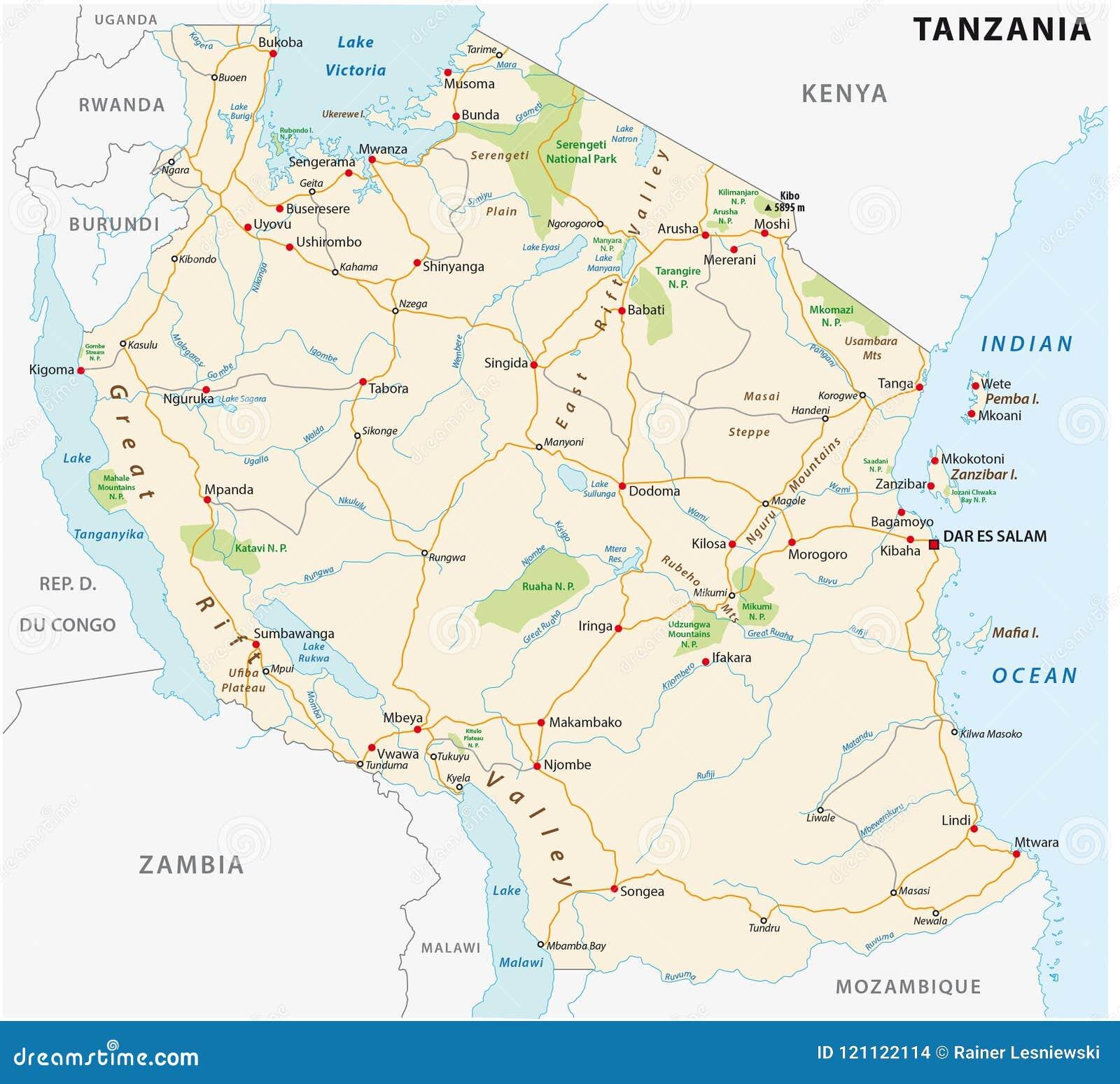 Zlana republika Tanzania drogowa wektorowa mapa