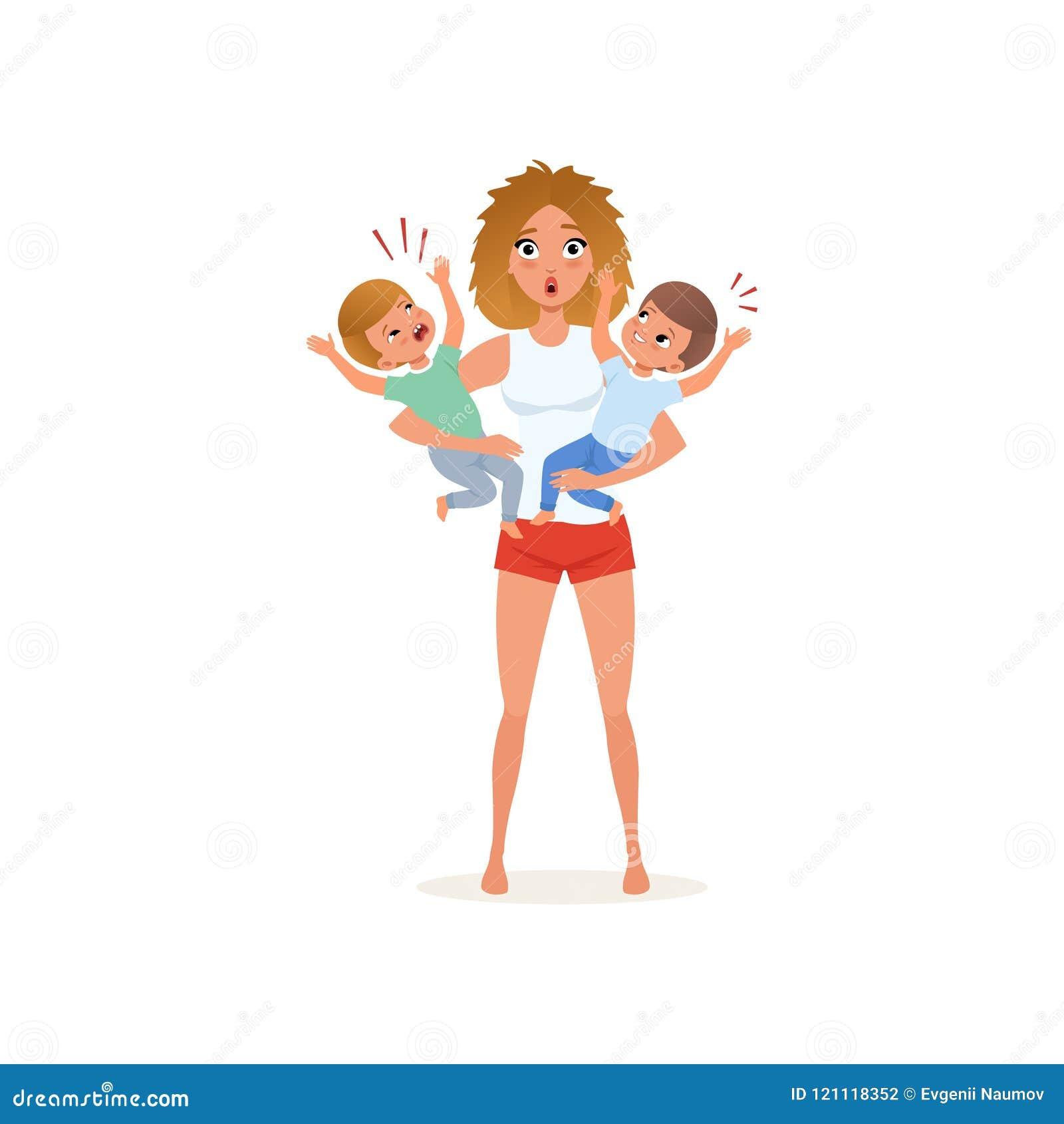 Zmęczona matka i jej płaczów synowie wychowywa, stresu pojęcie, związek między dziećmi i rodziców wektorowych,