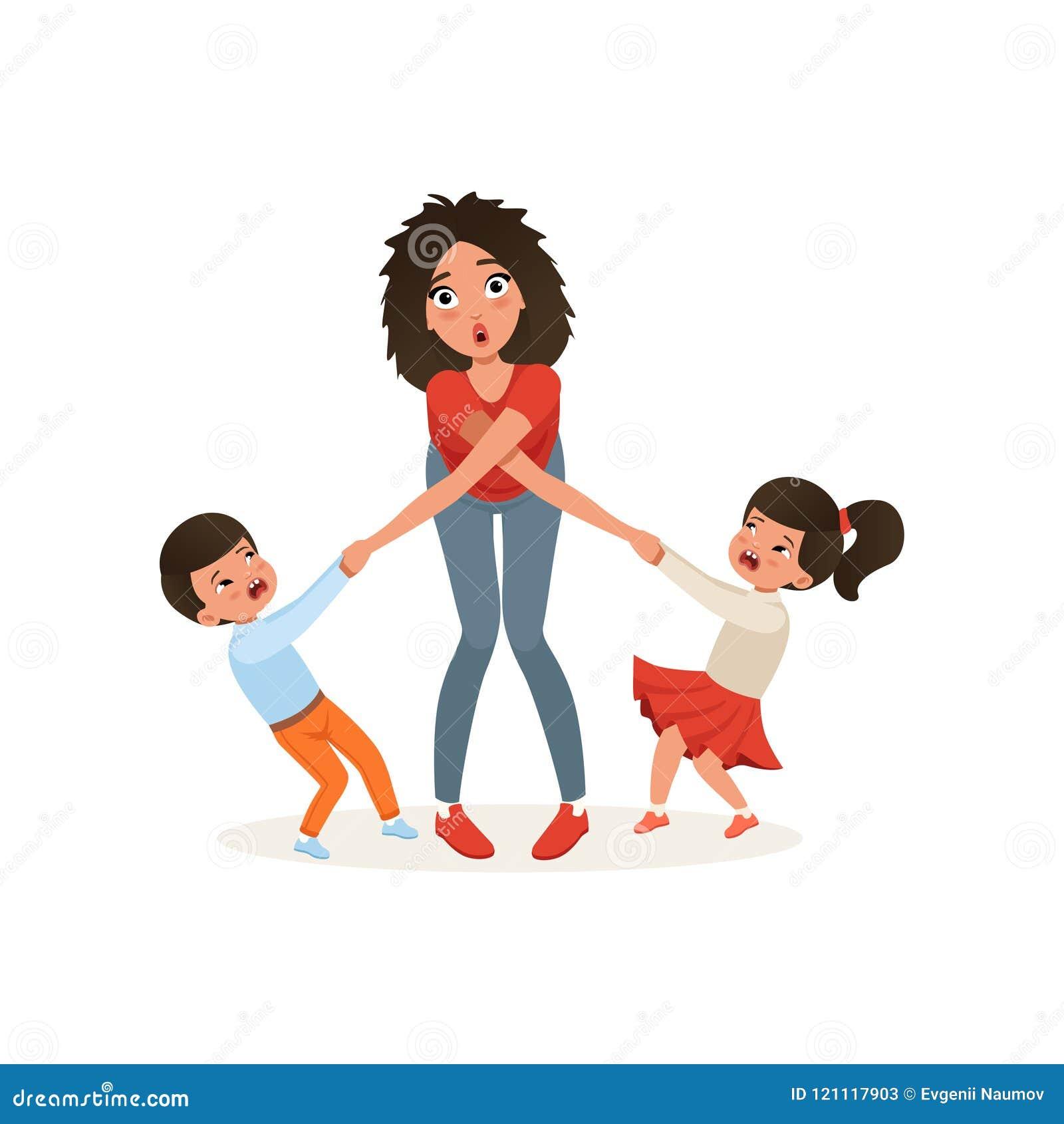 Zmęczona matka z jej zgrymaszonymi dziećmi, wychowywa stres, związek między dziećmi i rodzica pojęcia wektor,