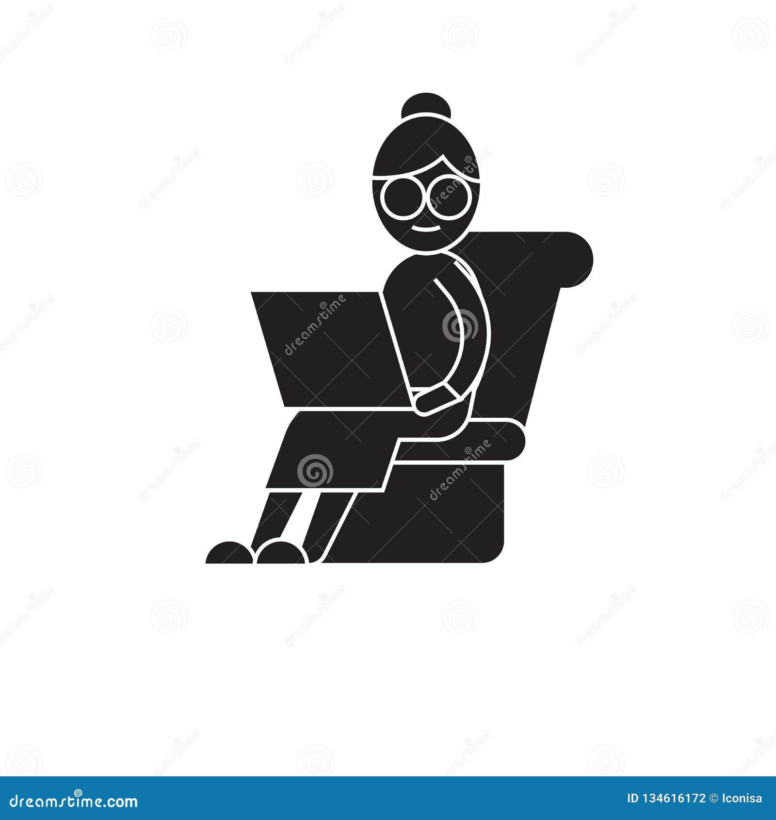 Zmęczona pracująca czarna wektorowa pojęcie ikona Zmęczona pracująca płaska ilustracja, znak