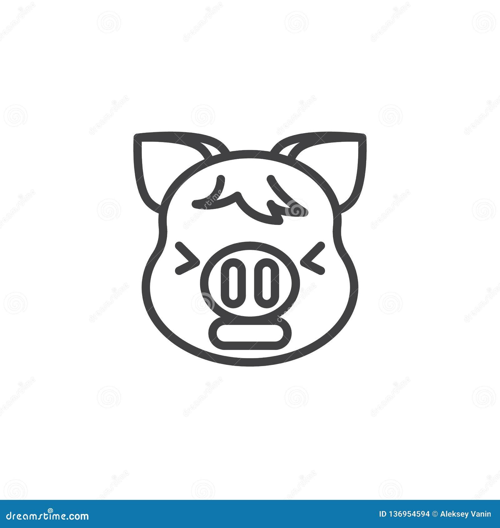 Zmęczona prosiątko twarzy emoji linii ikona
