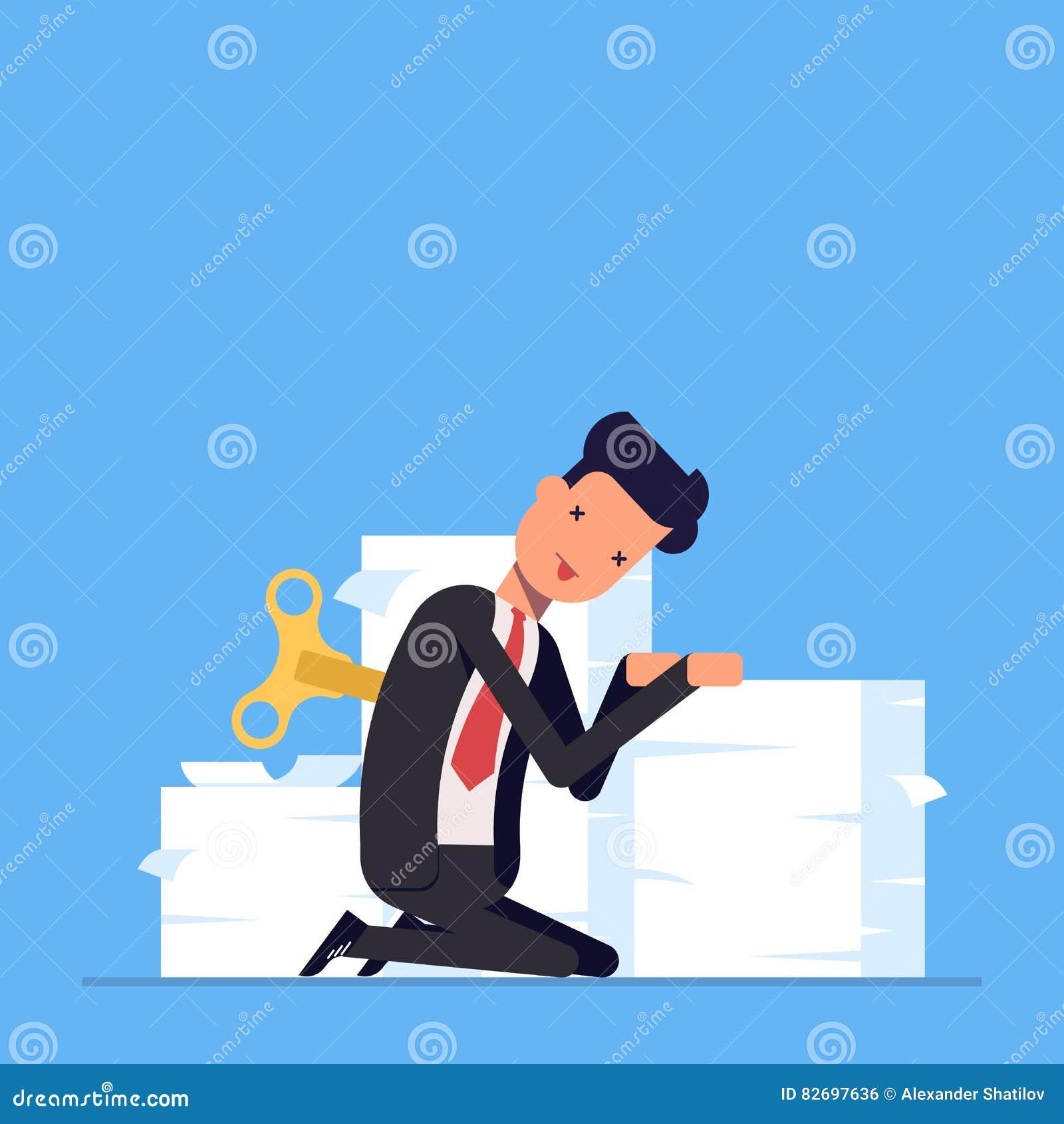 Zmęczony biznesmen lub kierownik siedzimy blisko wielkiego stosu dokumenty Brak energia robić pracie Ja bierze ładunku mężczyzna