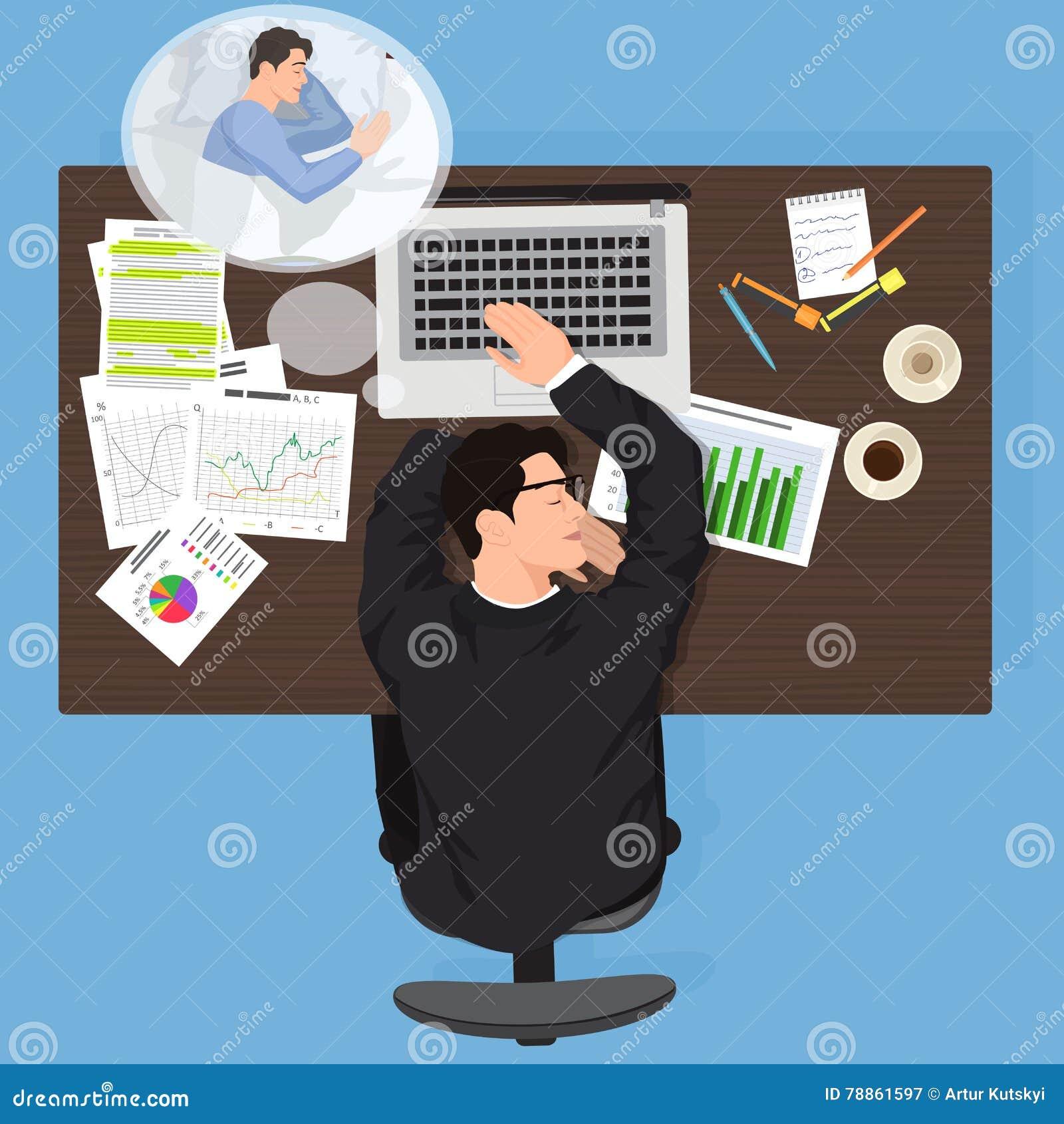 Zmęczony biznesowego mężczyzna pracownika dosypianie przy pracą Skołowany biurowy mężczyzna pracownik widzii sen Zmęczony mężczyz