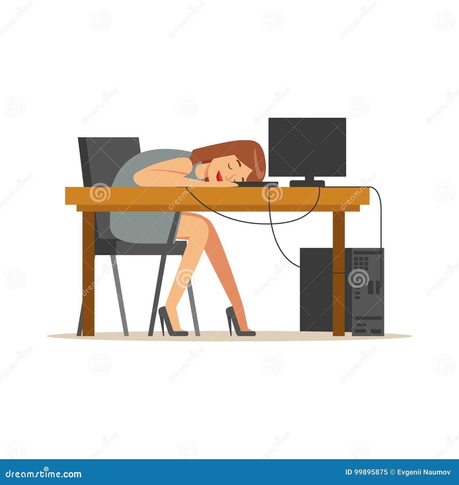 Zmęczony bizneswomanu dosypianie przy miejscem pracy na laptop klawiaturze, skołowanego urzędnika relaksująca wektorowa ilustracj