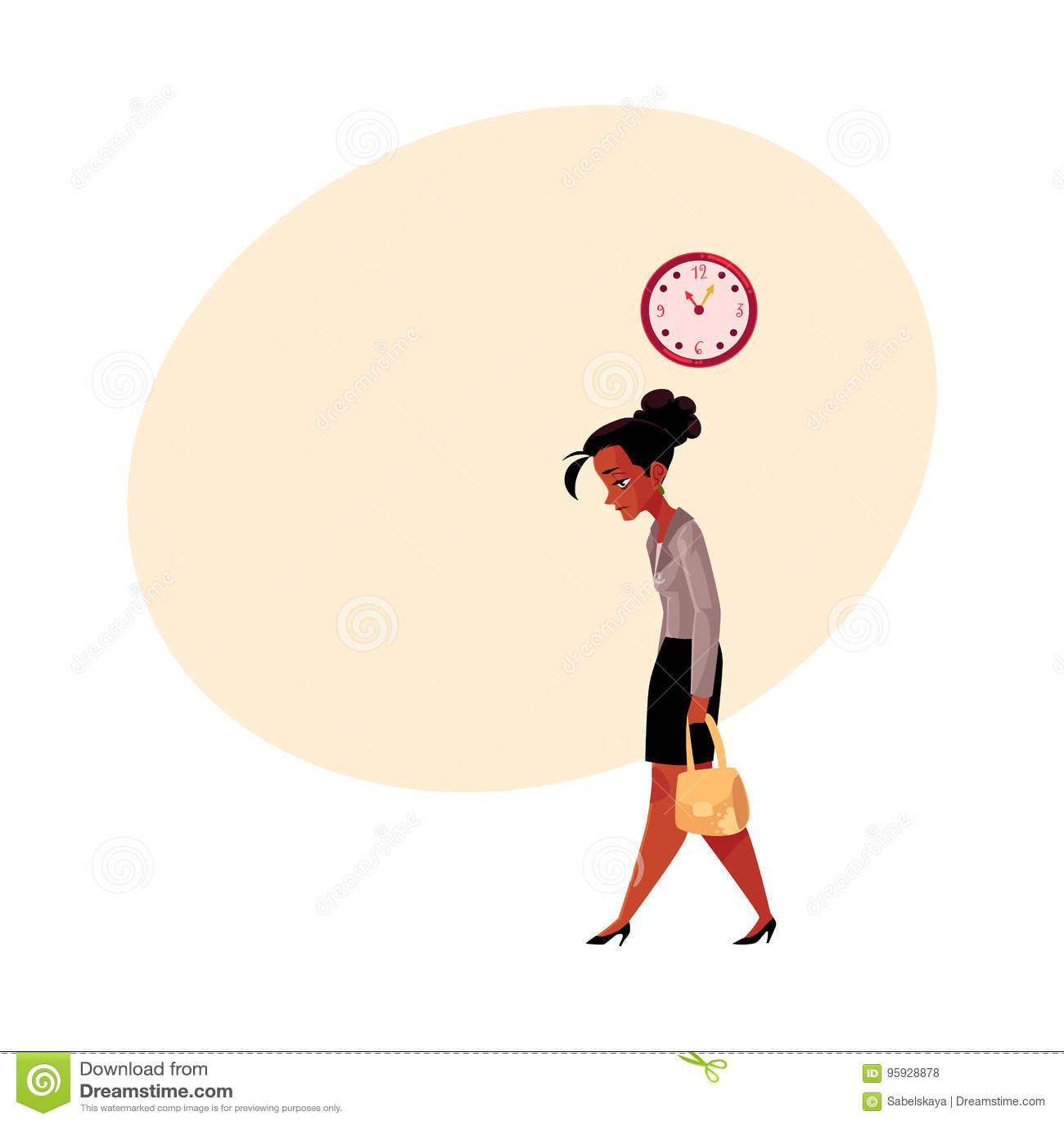 Zmęczony czerń, amerykanina afrykańskiego pochodzenia bizneswoman, iść do domu po pracy