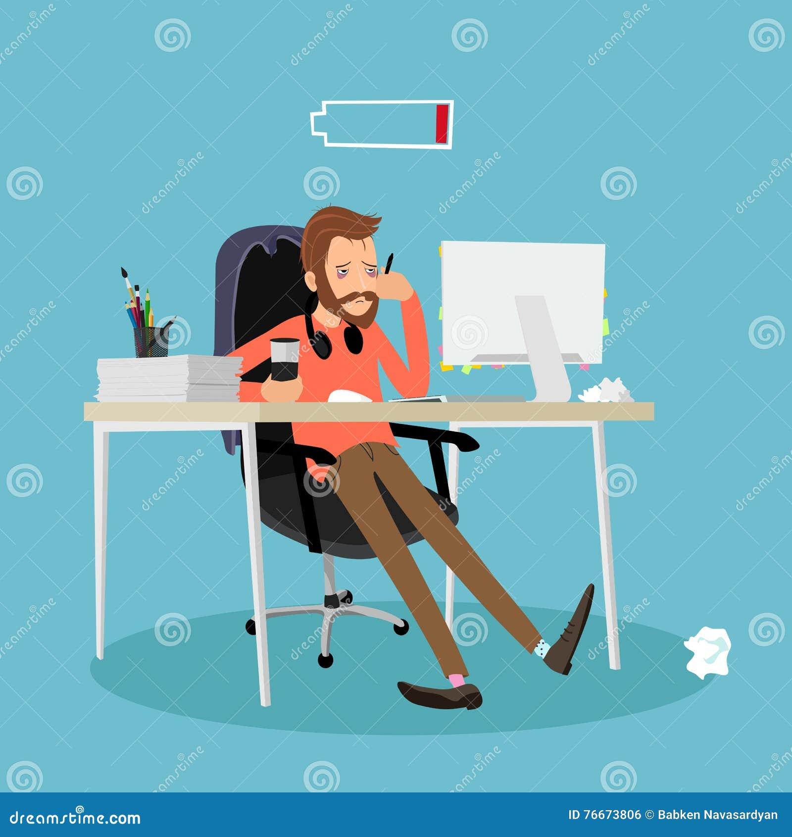 Zmęczony mężczyzna przy pracą