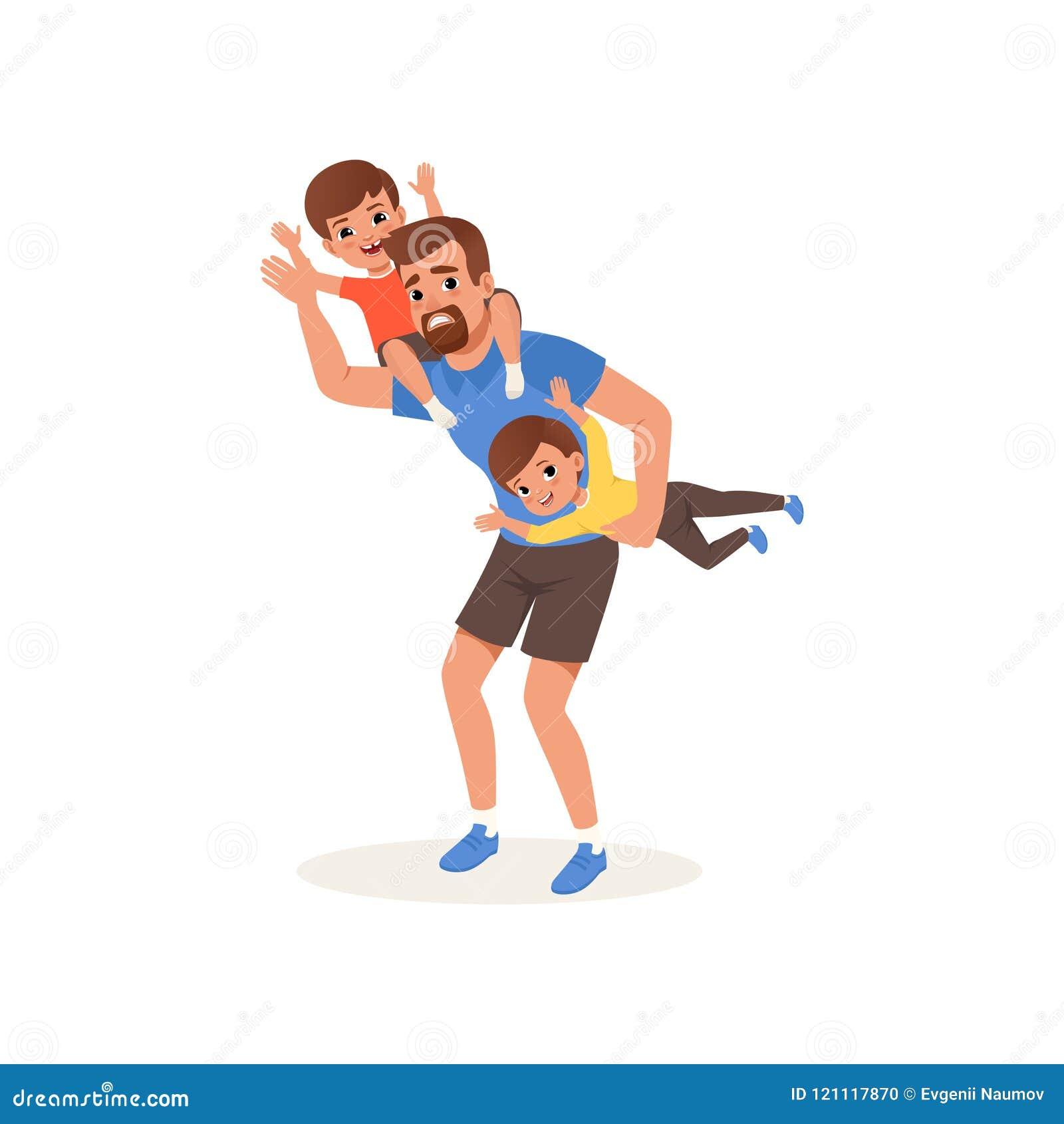 Zmęczony ojciec bawić się z jego synami, wychowywa stresu pojęcie, związek między dziećmi i rodziców wektorowych,