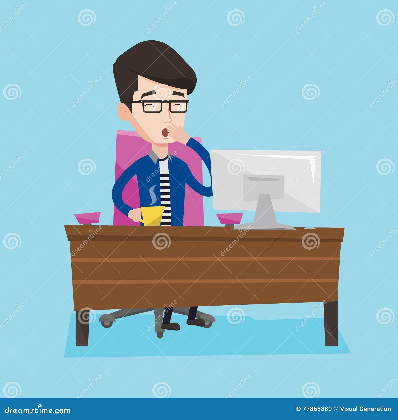 Zmęczony pracownik pracuje w biurze