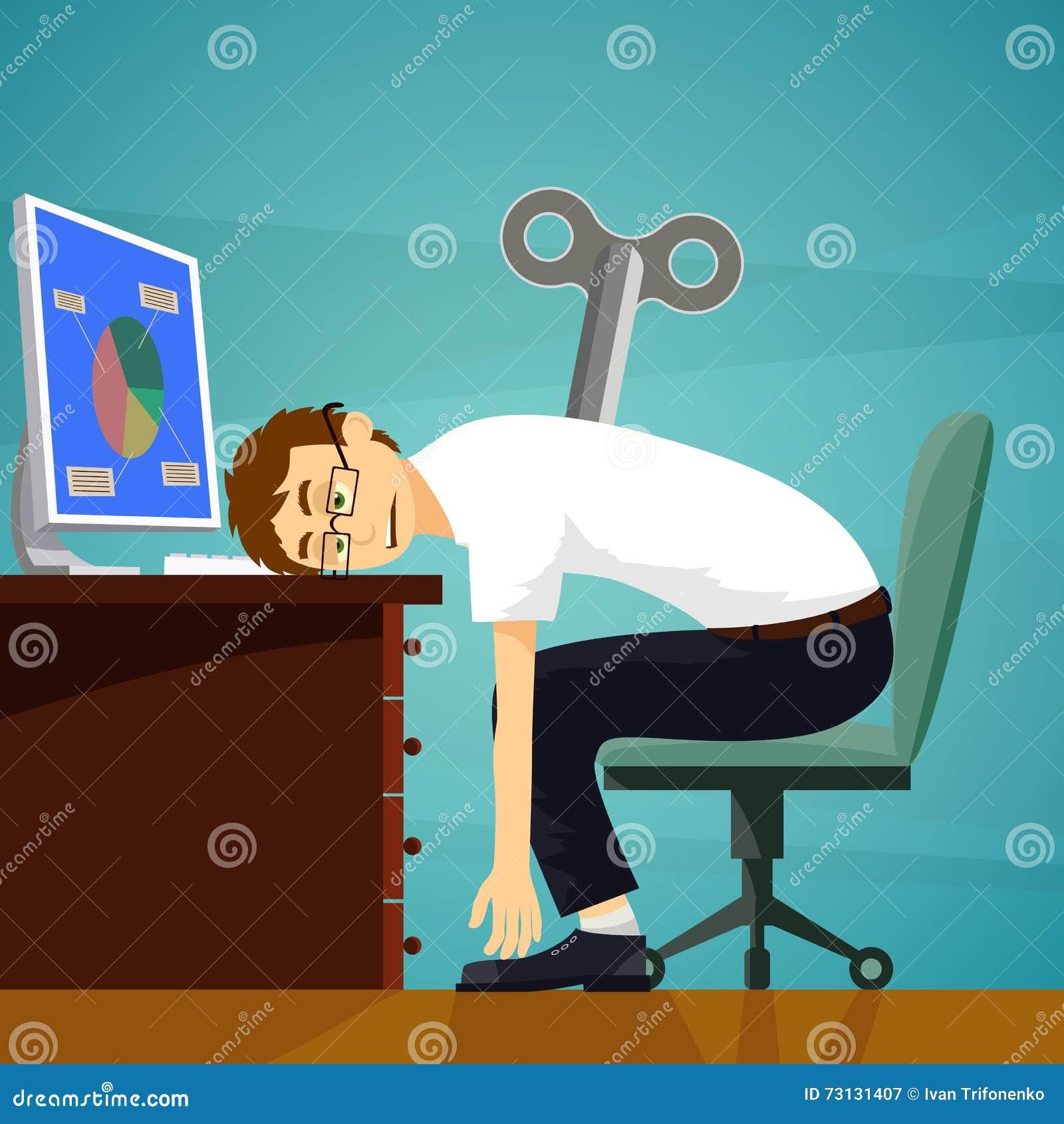 Zmęczony pracownik siedzi przy miejscem pracy Clockwork klucz Akcyjny wektor