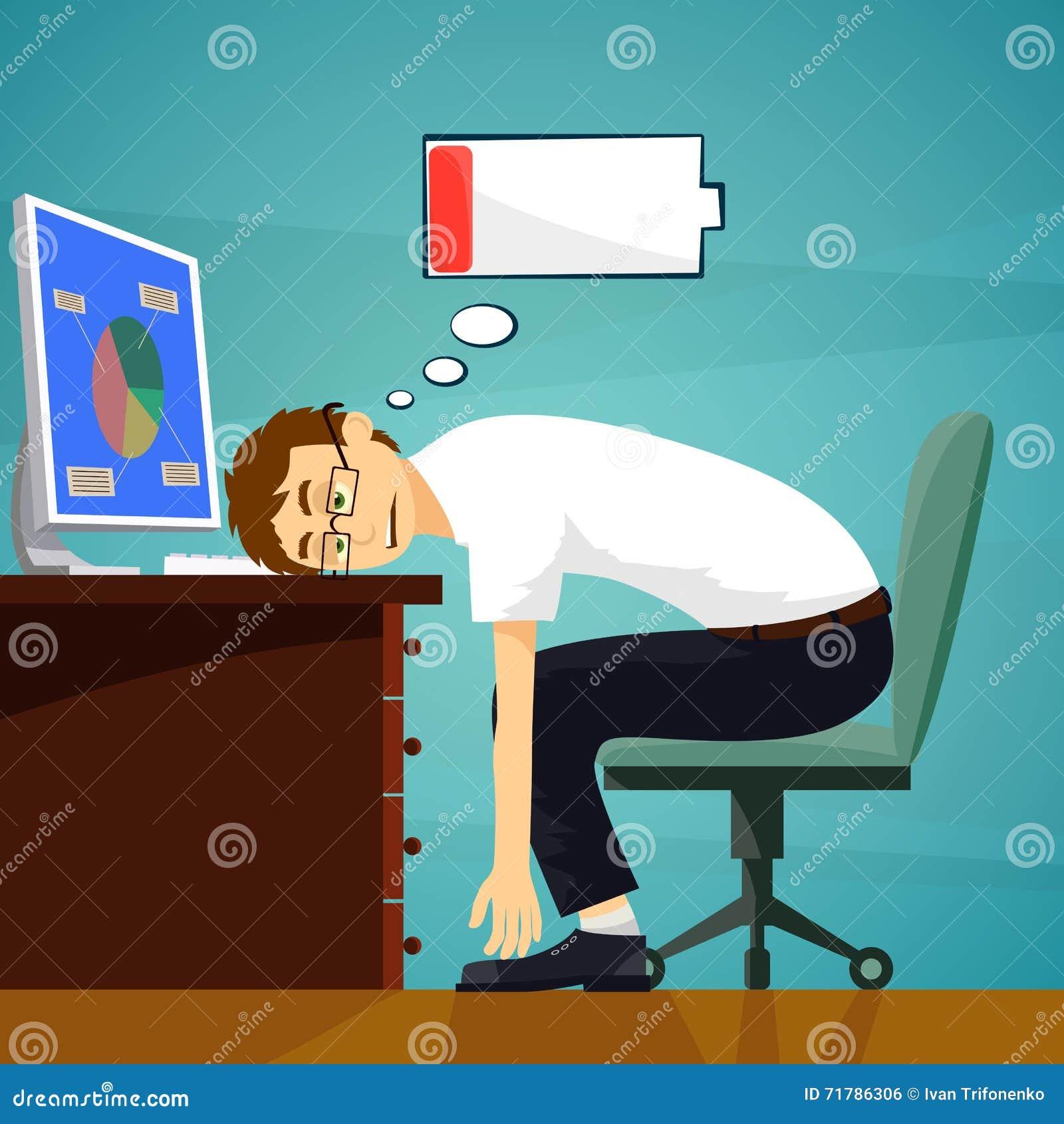 Zmęczony pracownik w miejscu pracy Niski bateryjny ładunek zapas