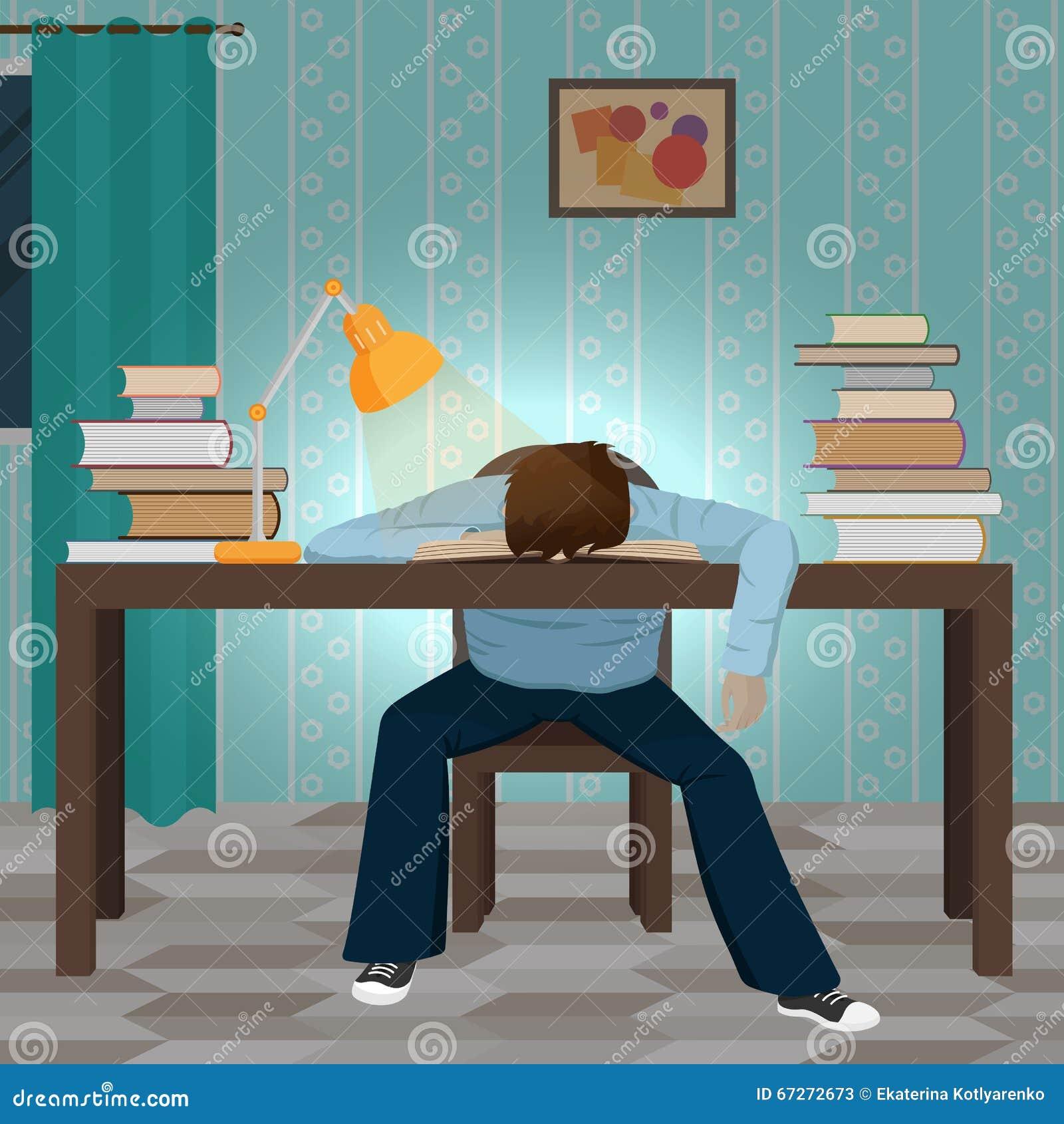 Zmęczony studencki spada uśpiony na książce