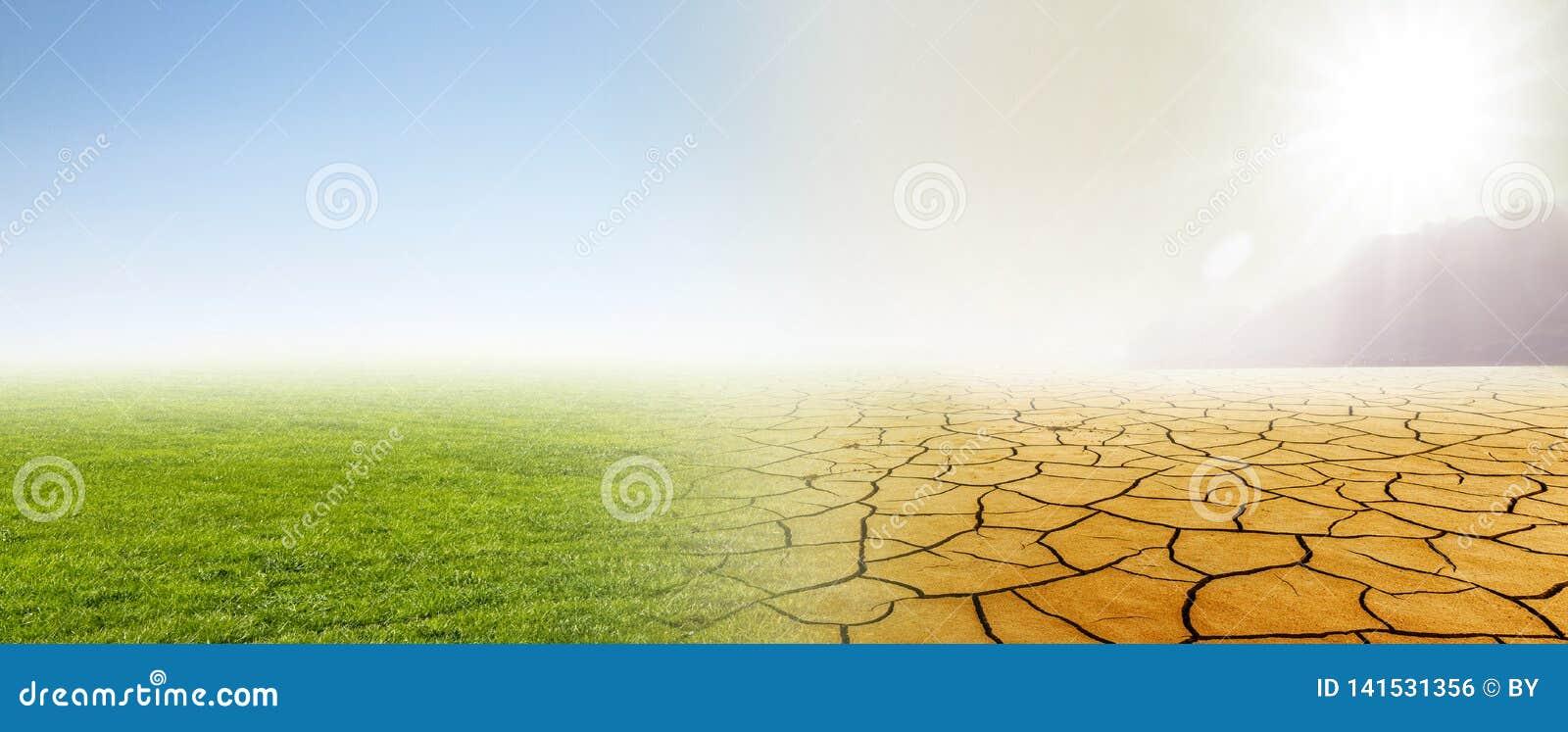 Zmiana klimatu od łąki pustynia