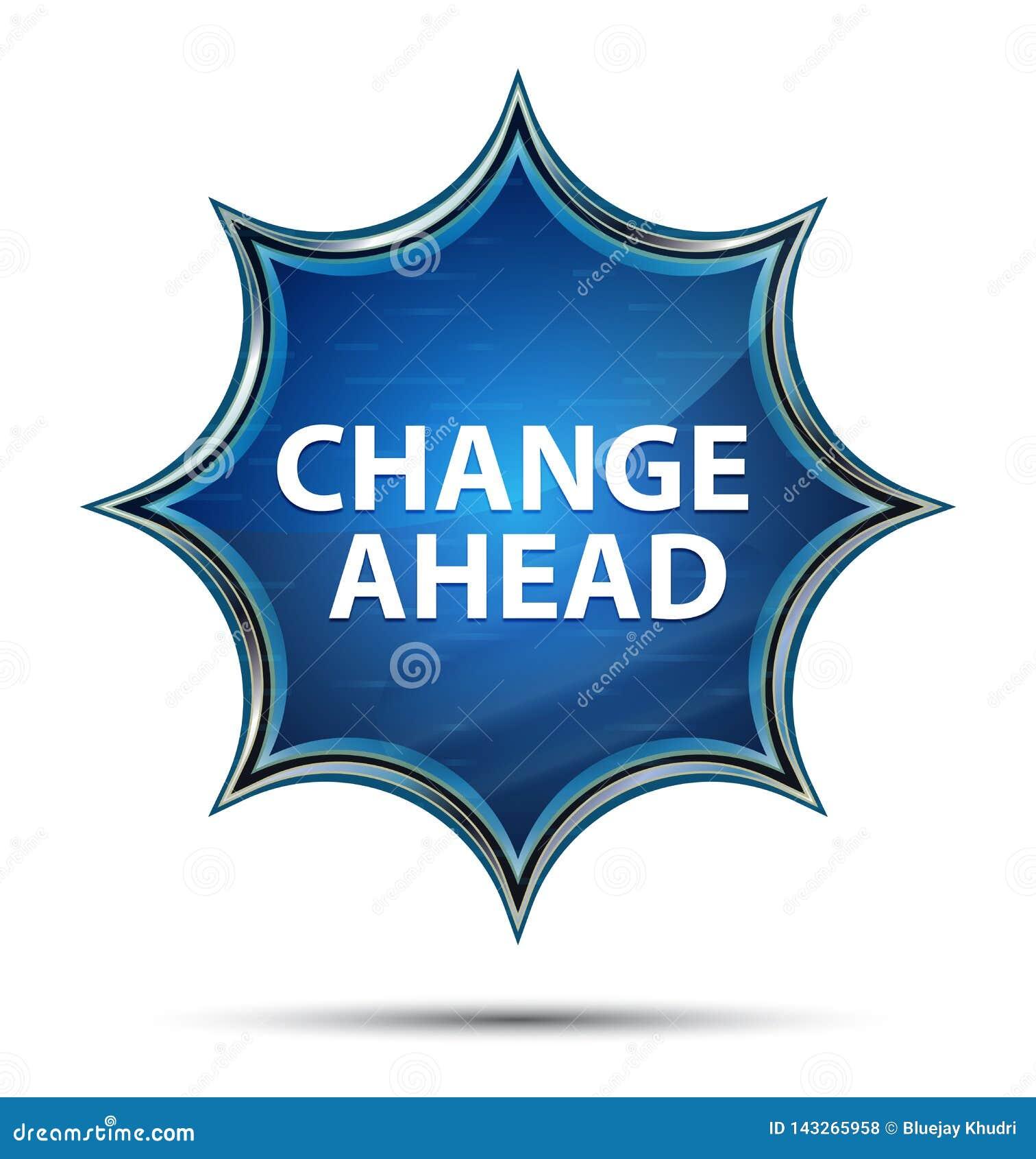 Zmiana Naprzód magiczny szklisty sunburst błękitny guzik