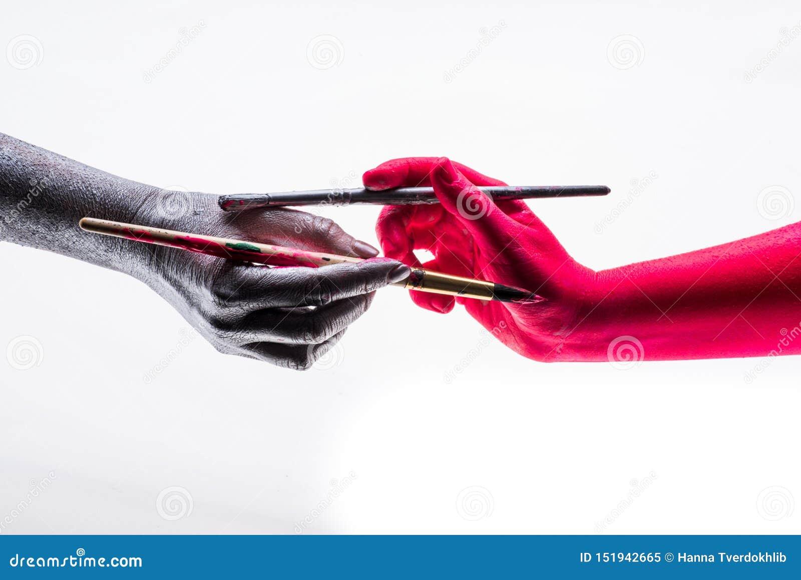 Zmieniać each inny Ludzie barwią inny ręki w ich kolorze, symbol odmieniania zakończenia ludzie w twój preferencji