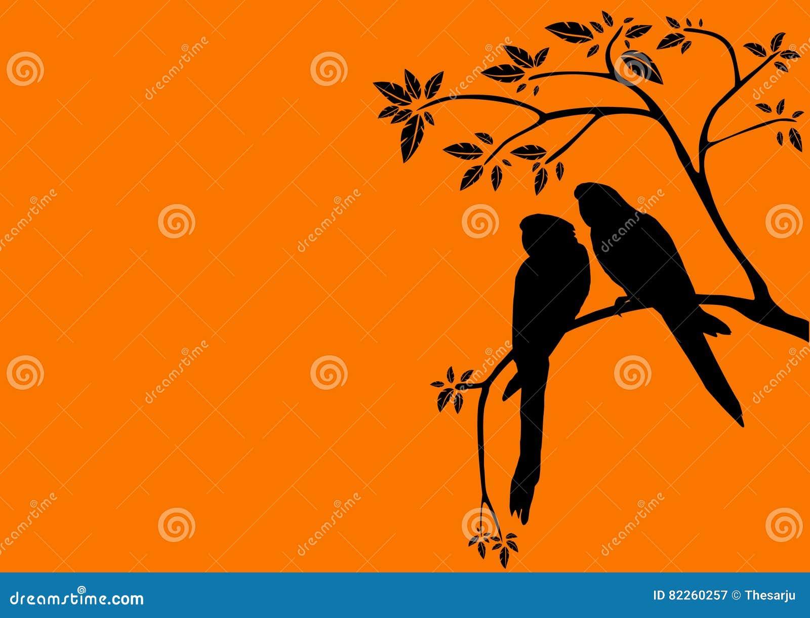 Zmierzch i dwa ptaka w drzewie