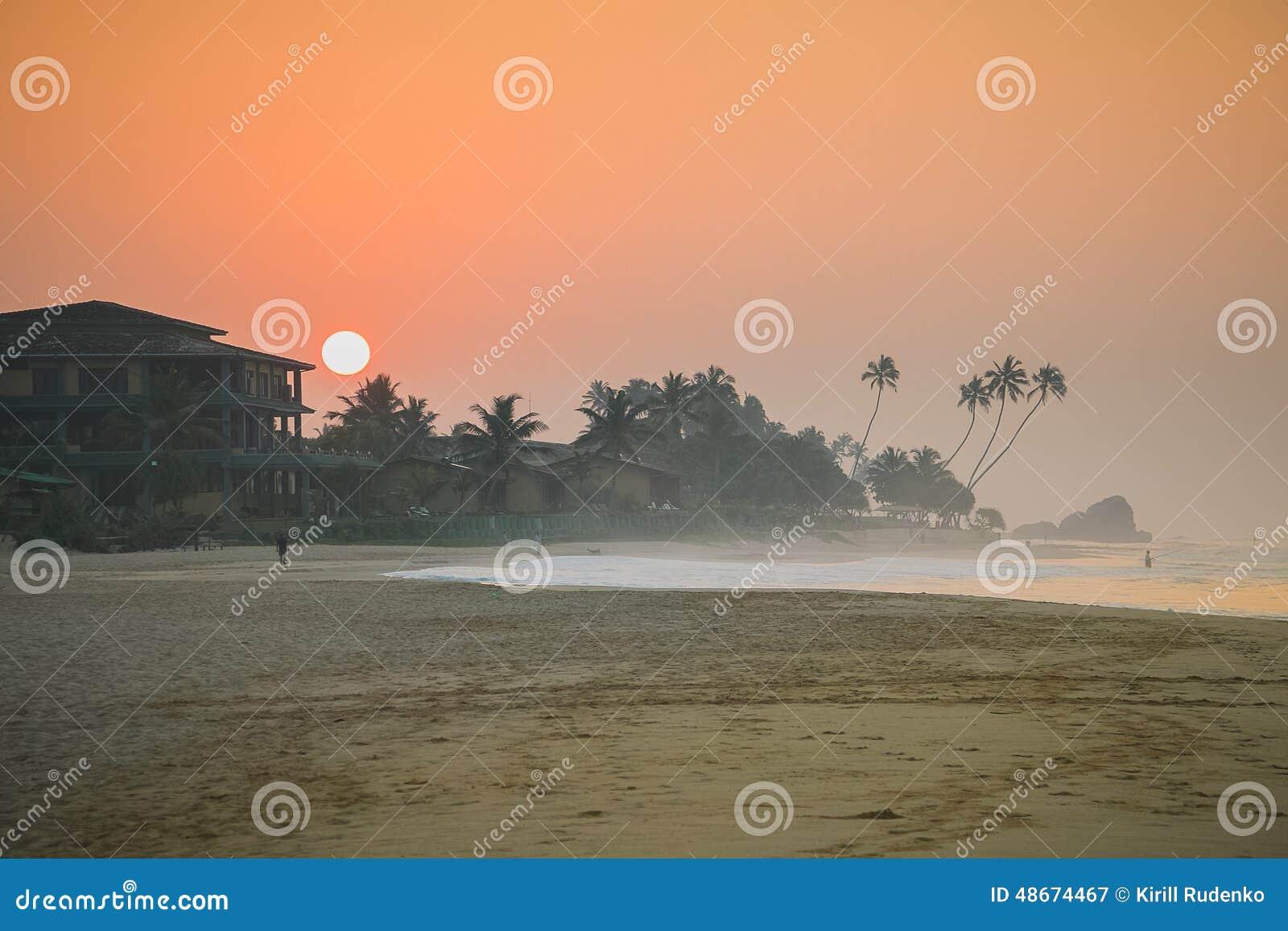 Zmierzch Koggala plaża, Sri Lanka