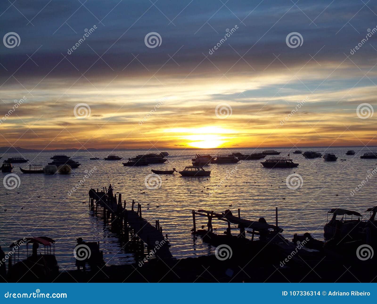Zmierzch na Jeziornym titicaca, Boliwia
