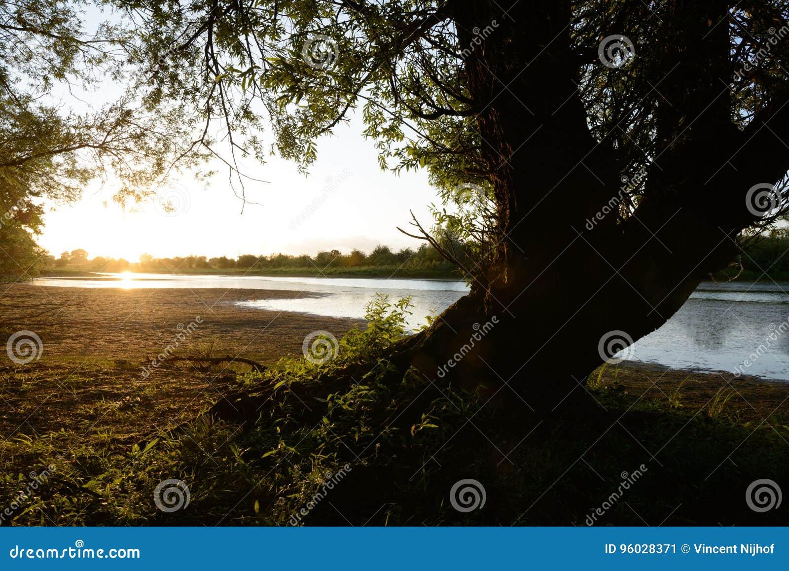 Zmierzch przy Ijssel rzeką blisko Fortmond holandie