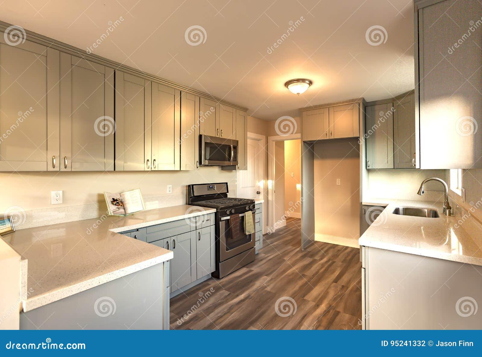 Zmierzch Tonuje W Kuchni Z Ciemną Drewnianą Podłoga Zdjęcie