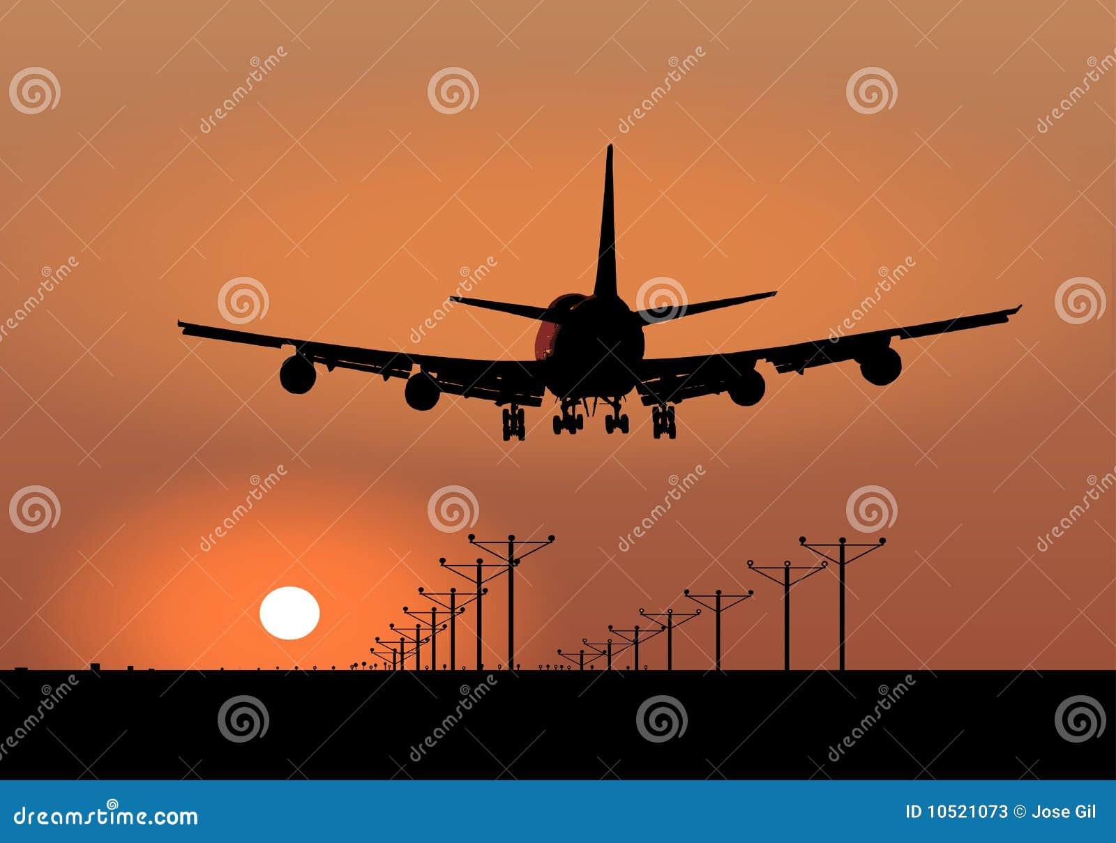 Zmierzchu samolotowy desantowy wektor