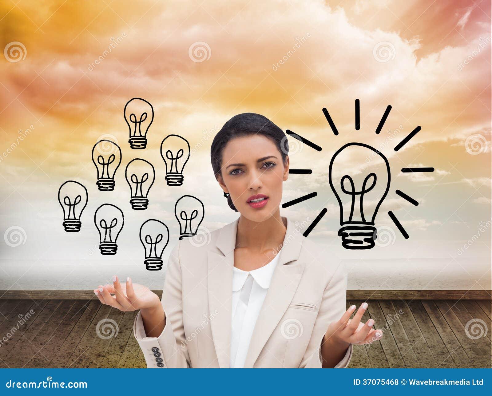 Download Zmieszana Bizneswoman Pozycja Zdjęcie Stock - Obraz złożonej z światło, innovate: 37075468